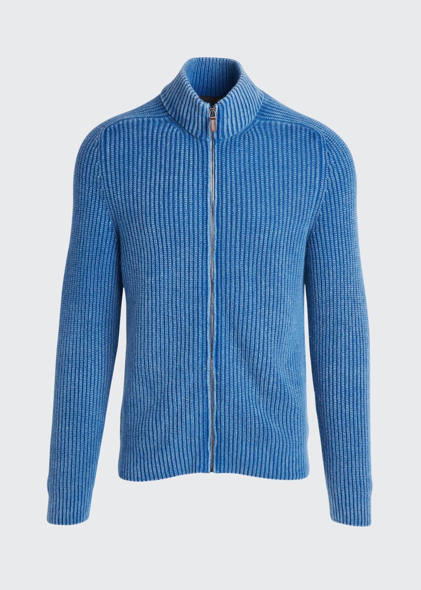Image 5 of 5: Men's Stone-Washed Ribbed Zip-Front Sweater