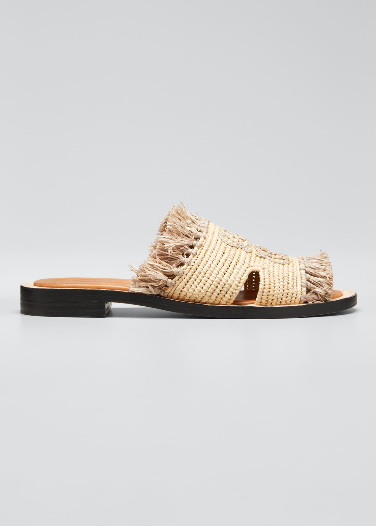 Loewe Woven Raffia Fringe Sandals