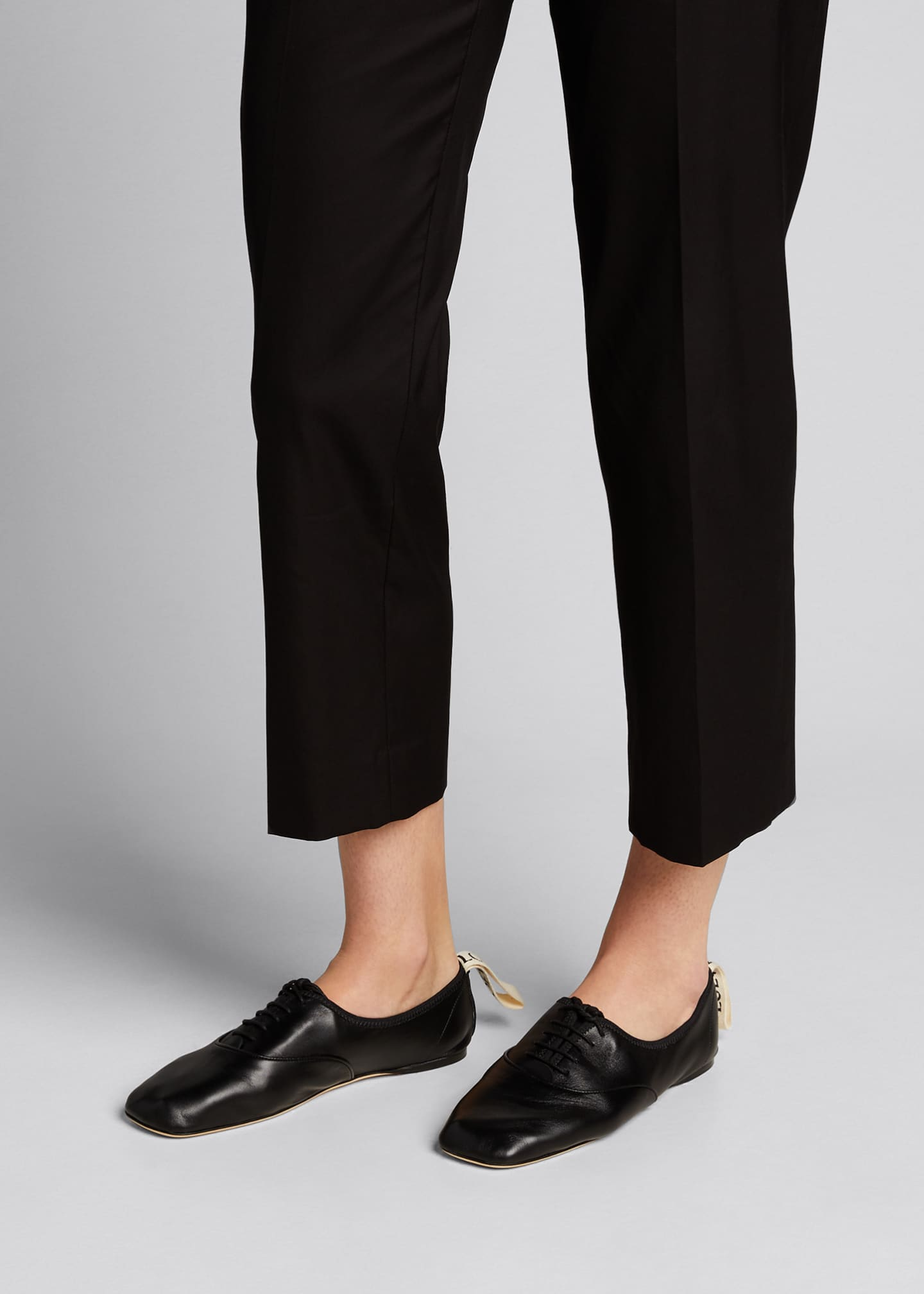 Image 2 of 5: Soft Leather Derby Flats, Black