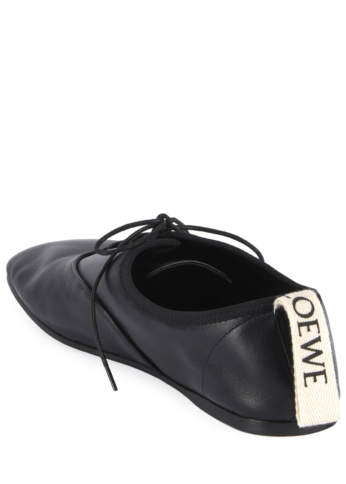 Image 4 of 5: Soft Leather Derby Flats, Black