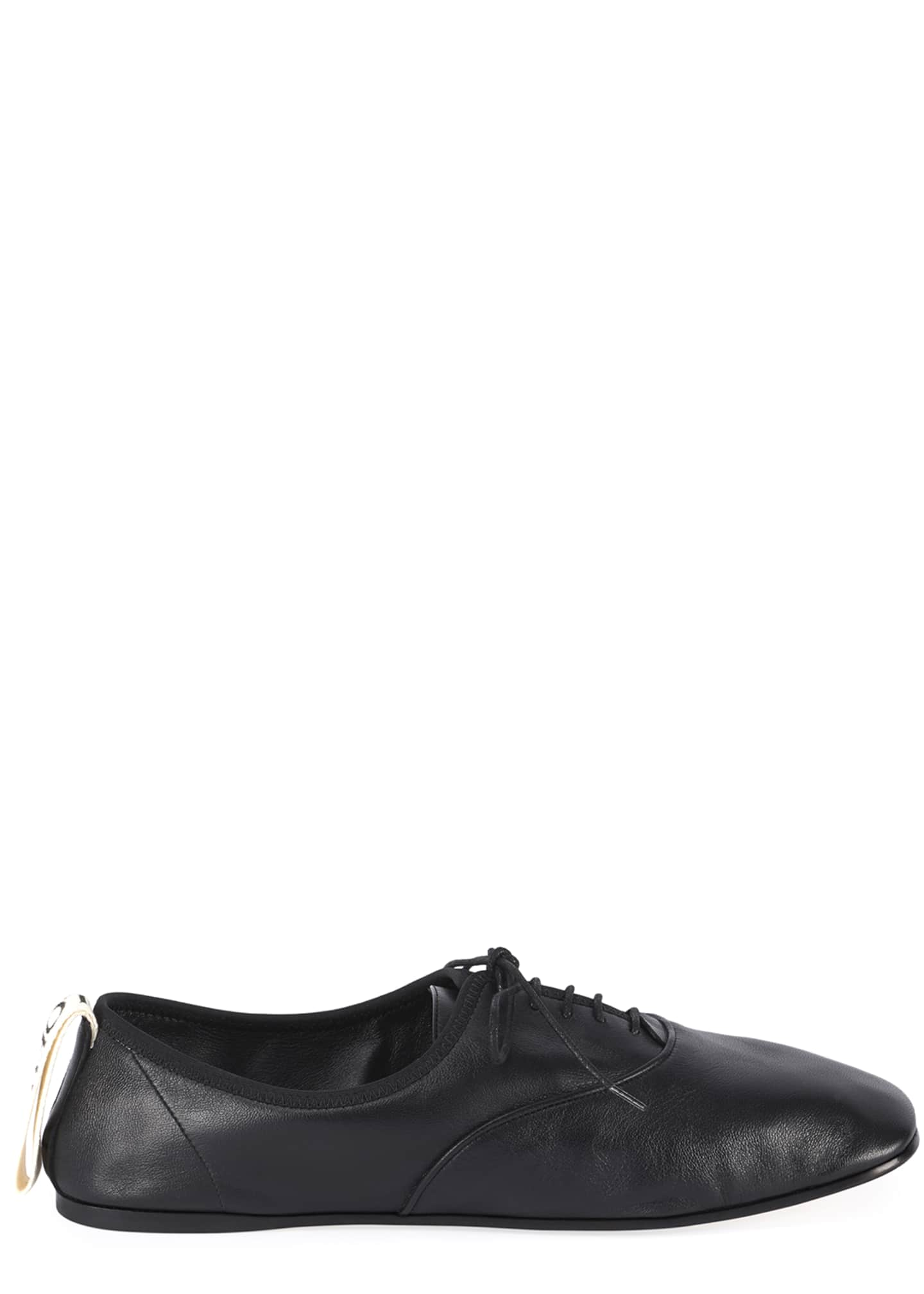 Image 1 of 5: Soft Leather Derby Flats, Black