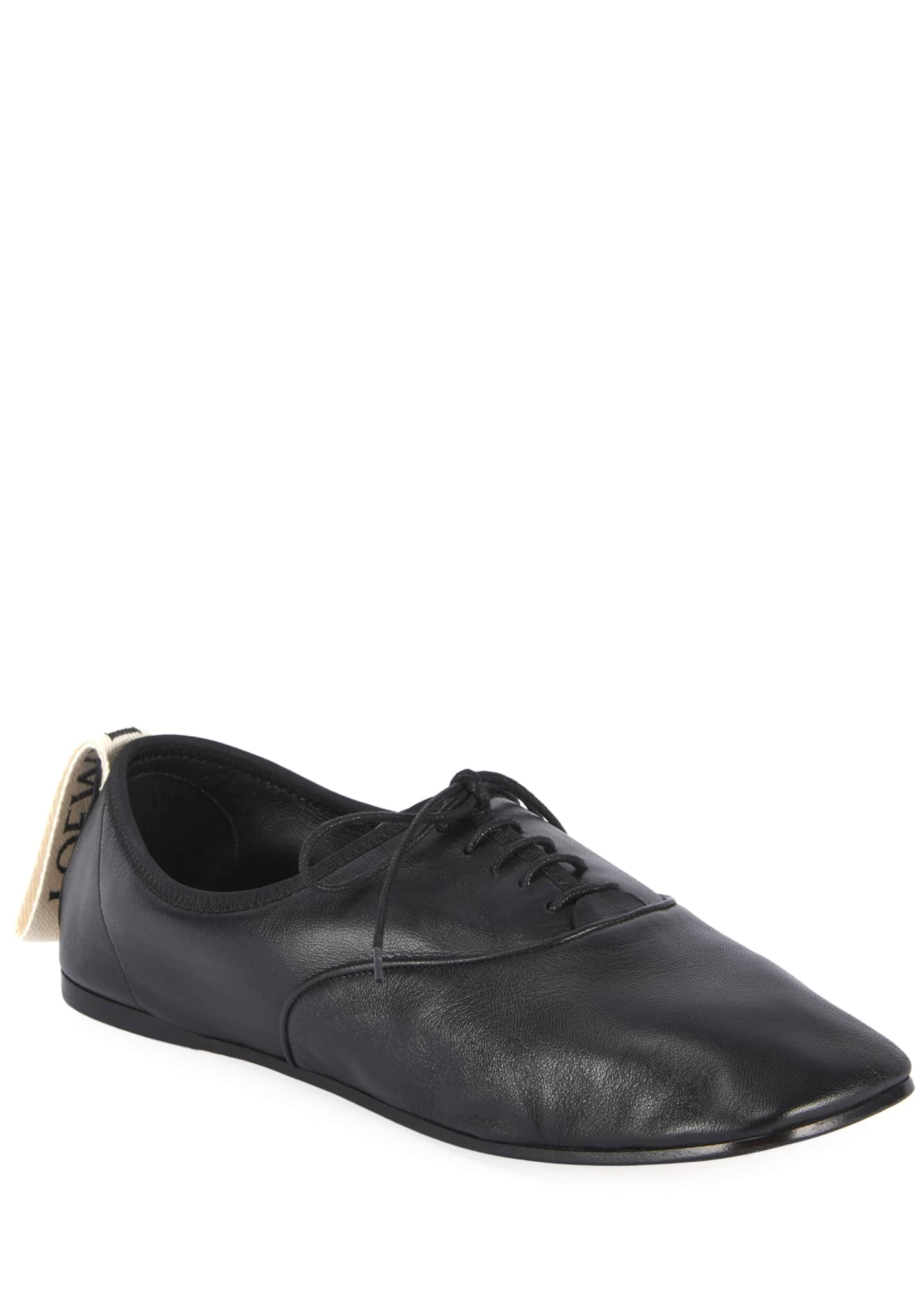 Image 5 of 5: Soft Leather Derby Flats, Black