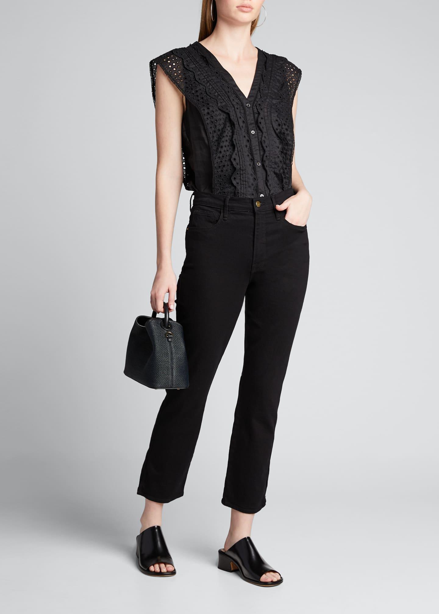 FRAME Le Sylvie Cropped High-Rise Side Slit Jeans
