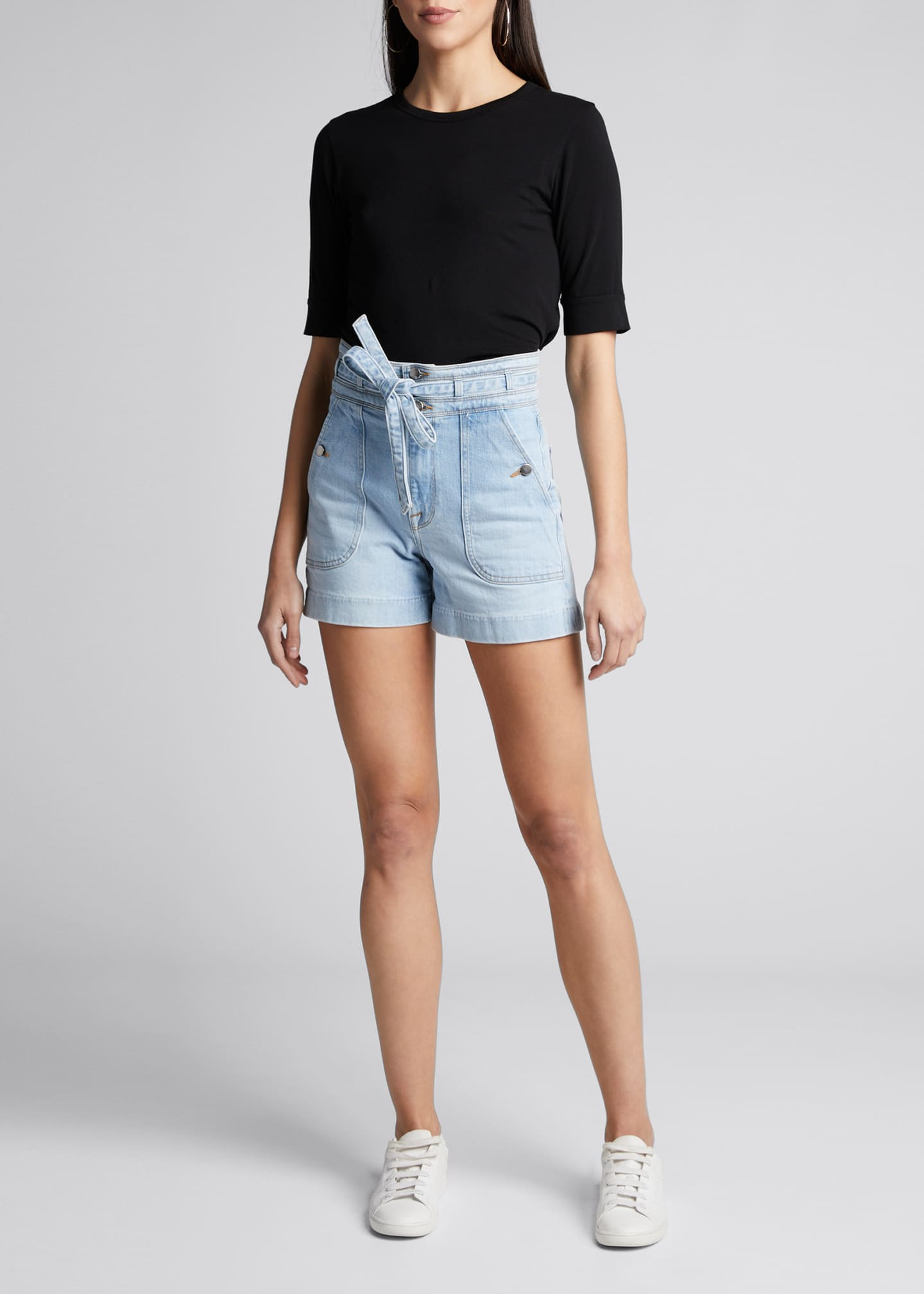 Image 1 of 5: Triple-Waistband Tie Shorts