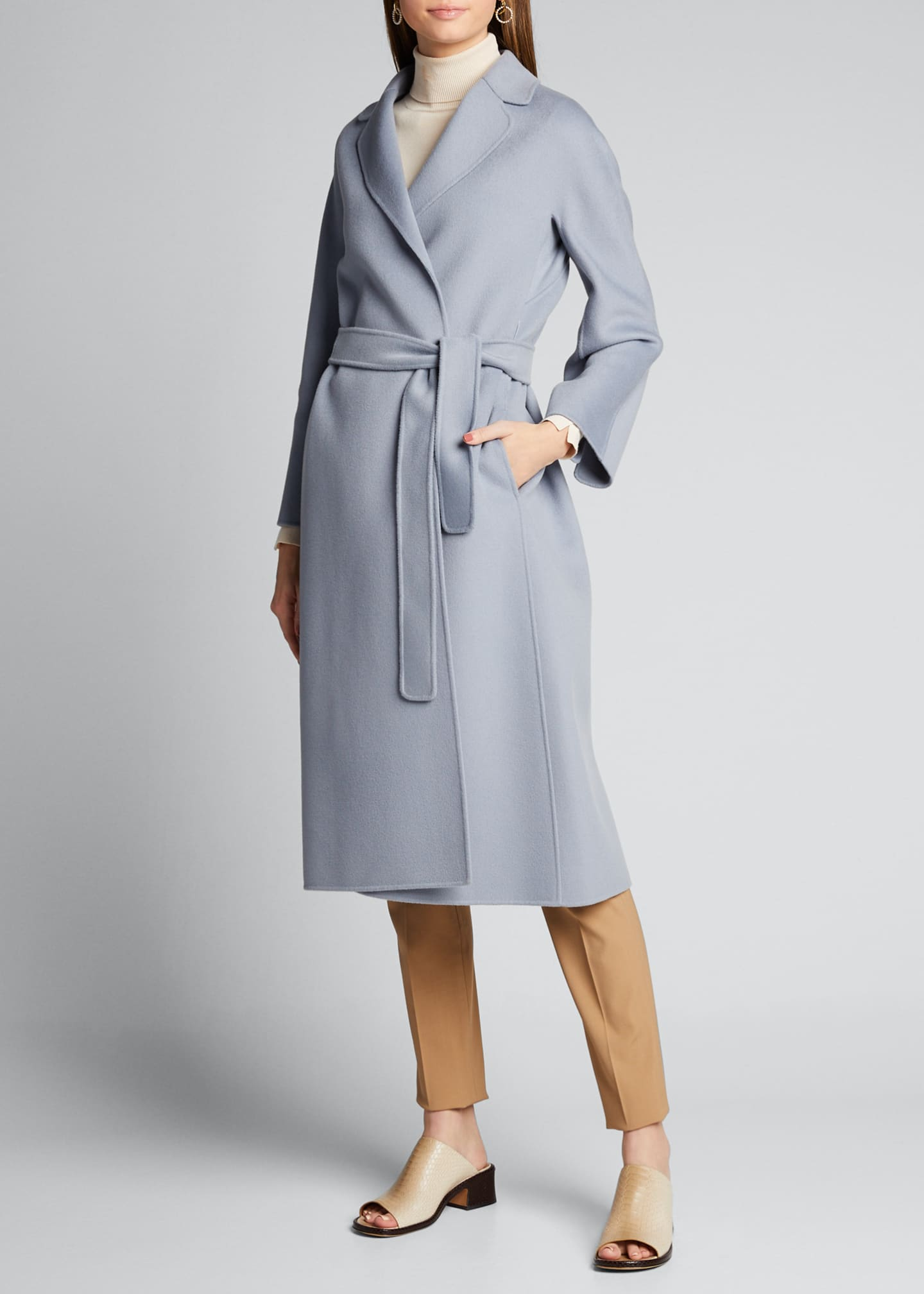 Image 3 of 5: Esturia Self-Tie Virgin Wool Coat