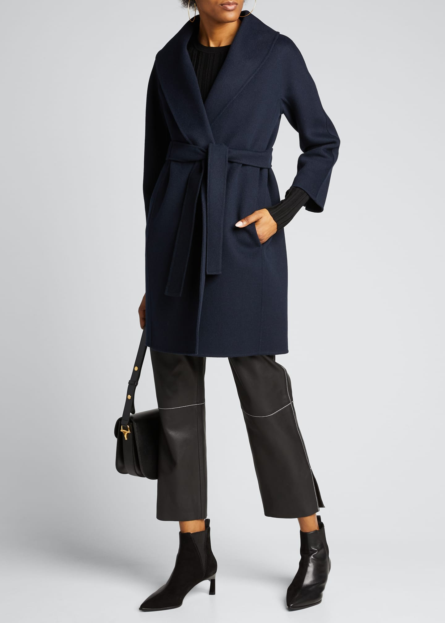 Image 1 of 5: Messi Virgin Wool Wrap Coat