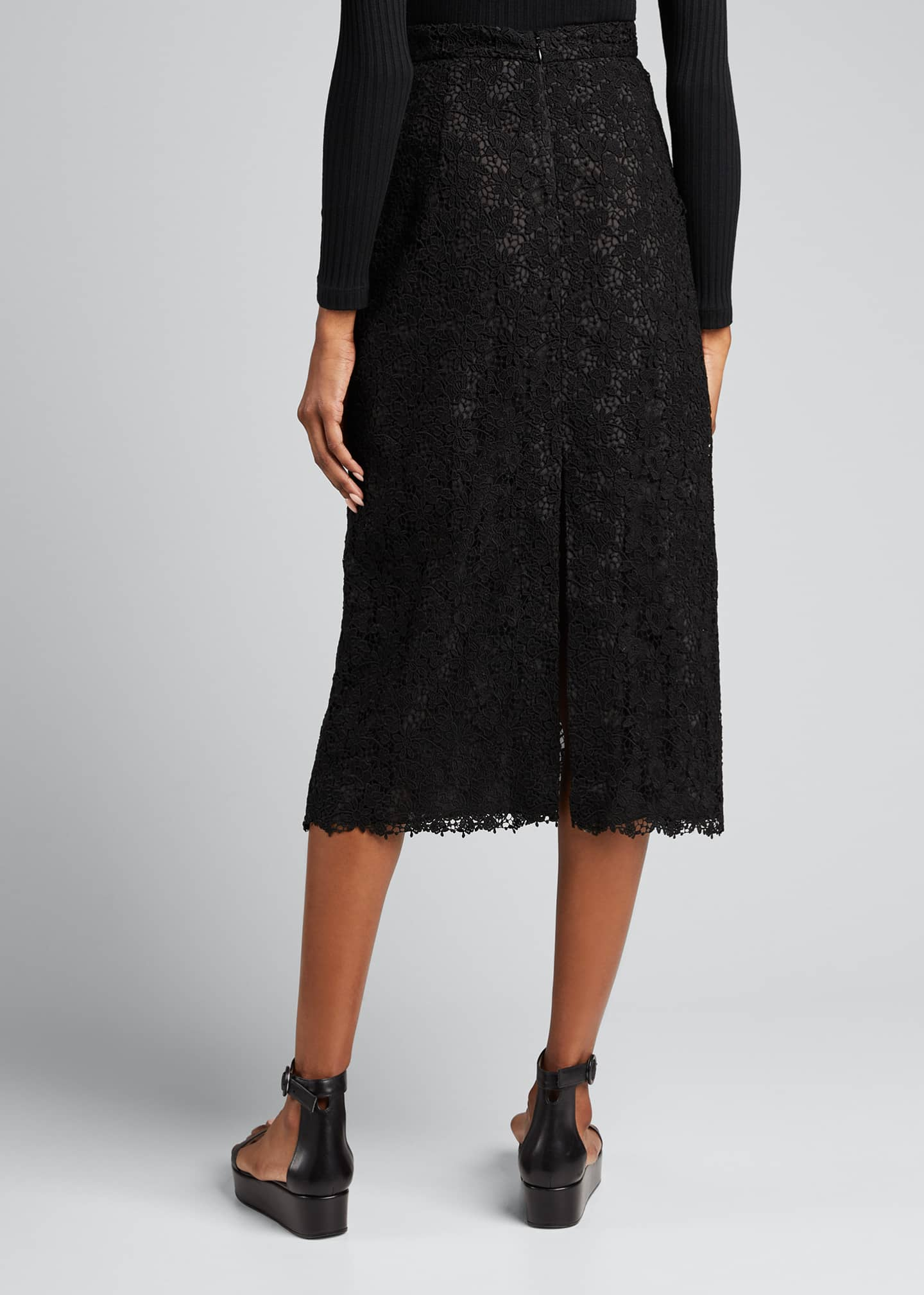 Image 2 of 5: Lace High-Waist Midi Skirt