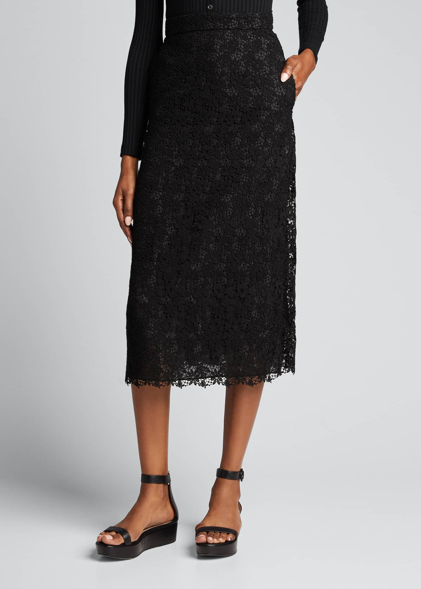 Image 3 of 5: Lace High-Waist Midi Skirt