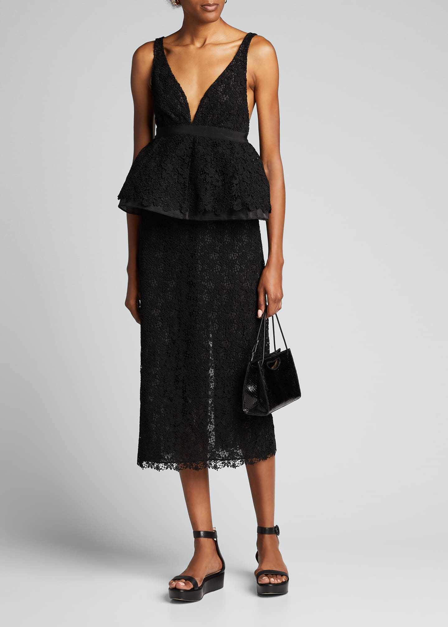 Image 1 of 5: Lace High-Waist Midi Skirt