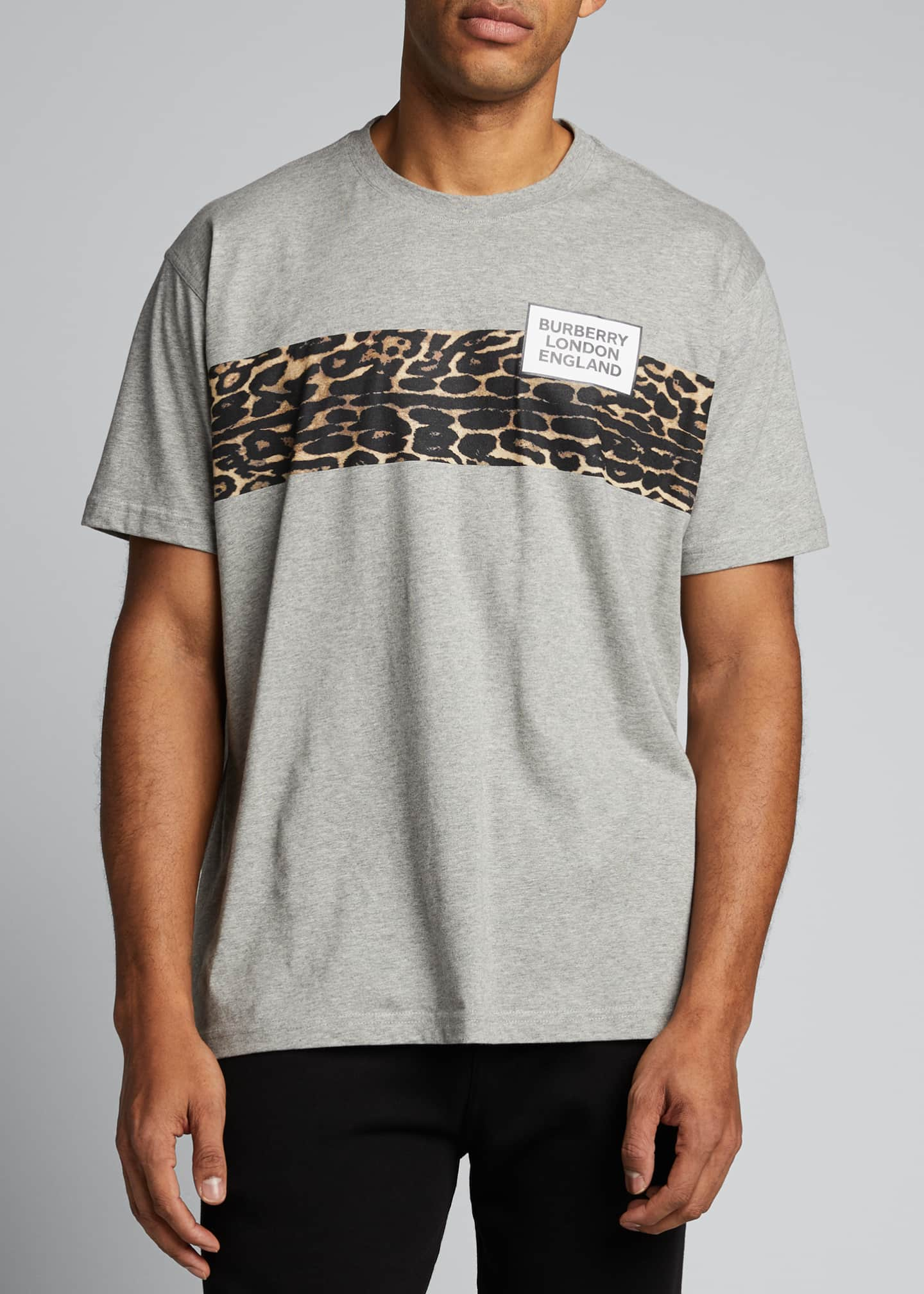 Image 3 of 5: Men's Leopard-Stripe Logo Crewneck Tee