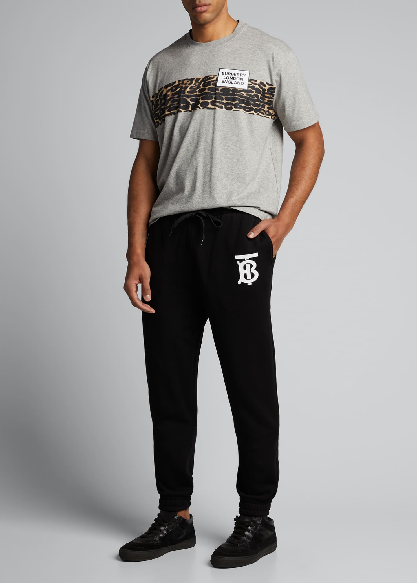 Image 1 of 5: Men's Leopard-Stripe Logo Crewneck Tee