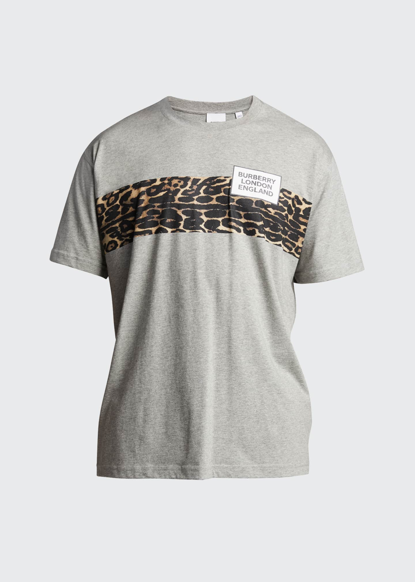 Image 5 of 5: Men's Leopard-Stripe Logo Crewneck Tee