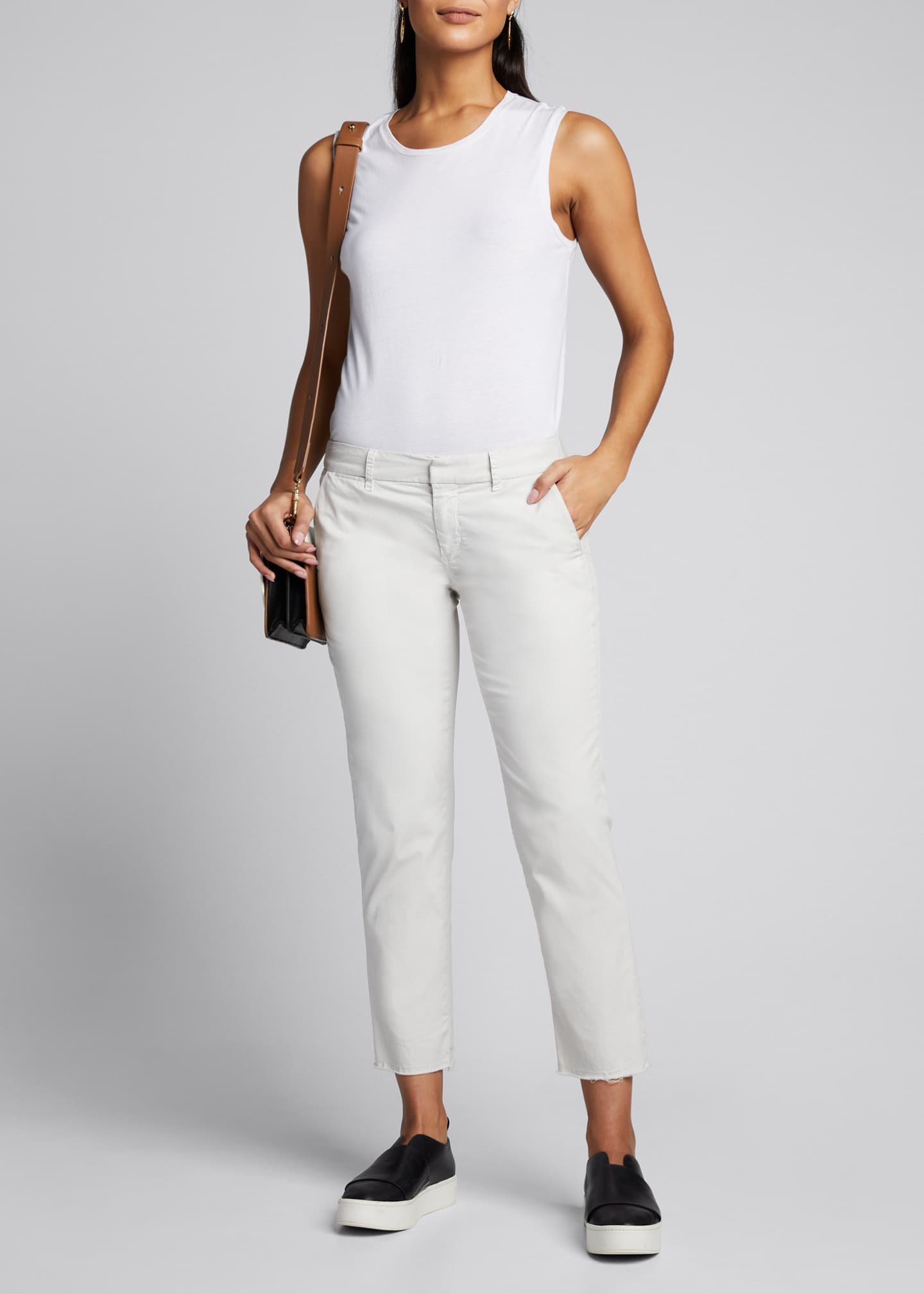 Nili Lotan East Hampton Frayed Crop Pants, White