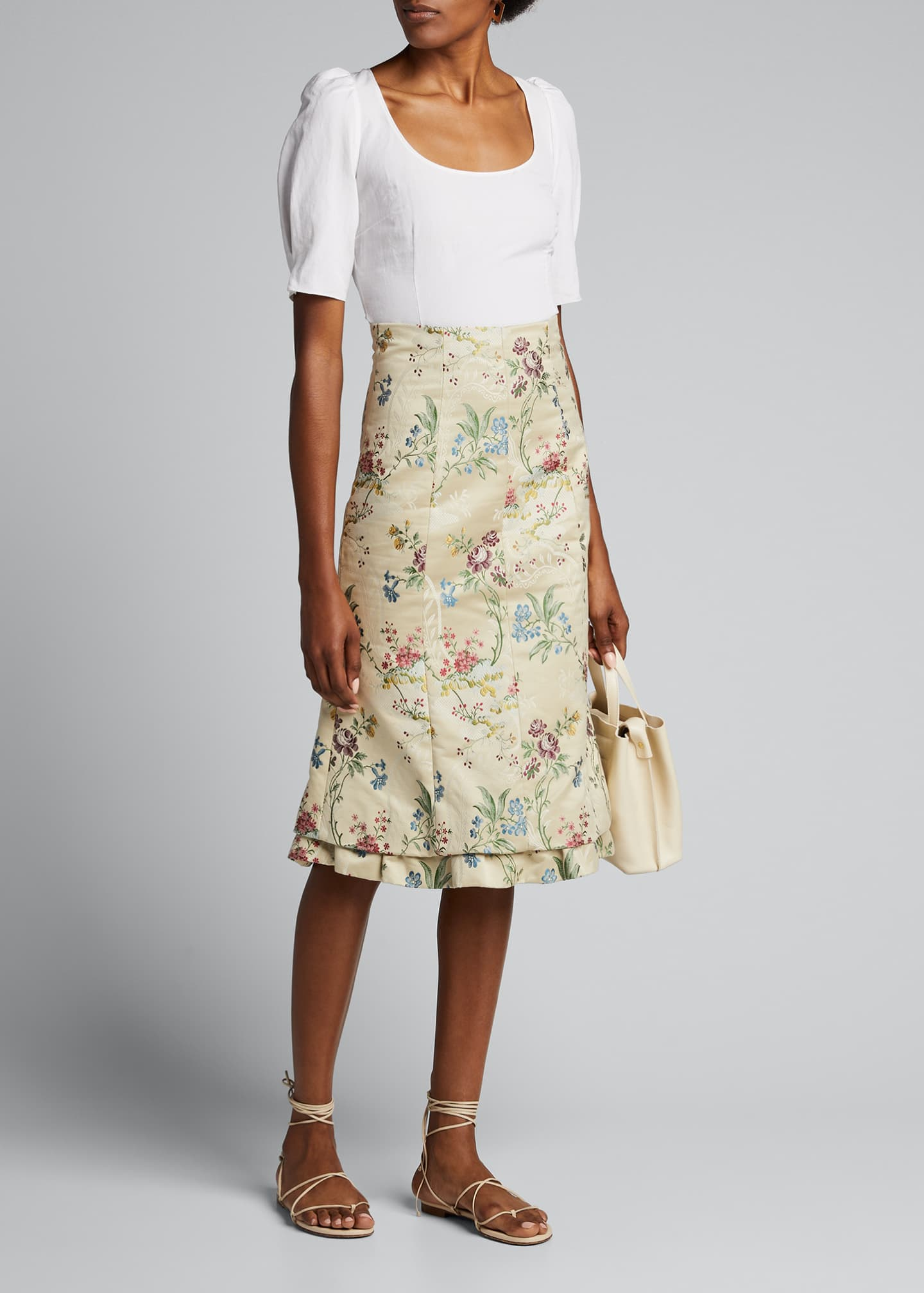 Brock Collection Floral-Print High-Rise Skirt