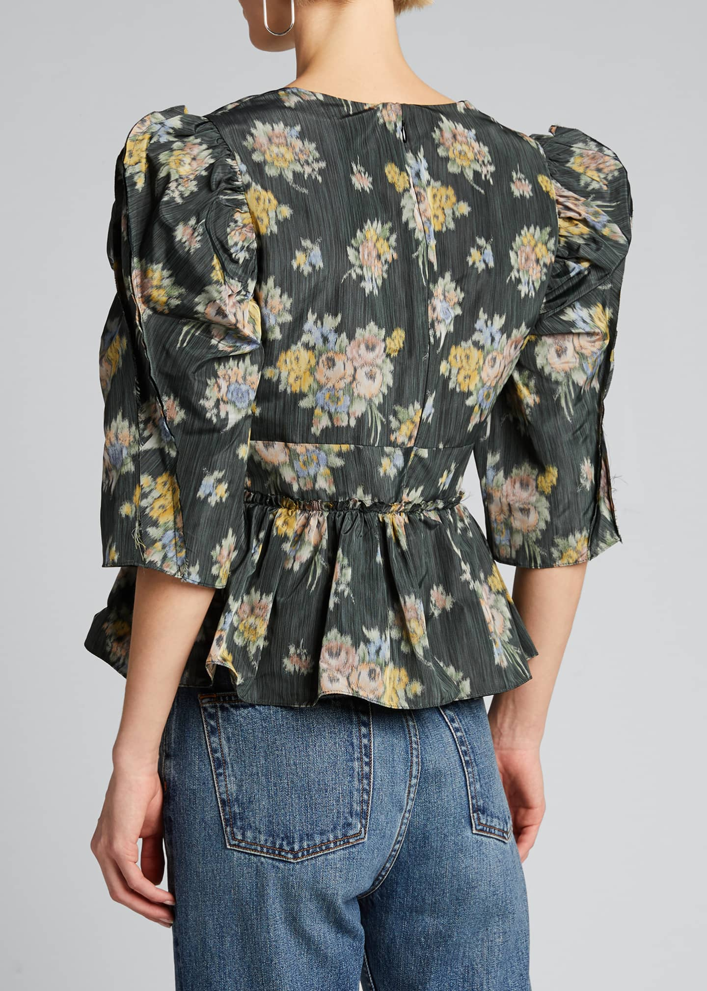 Image 2 of 5: Floral-Print Puff-Sleeve Peplum Blouse