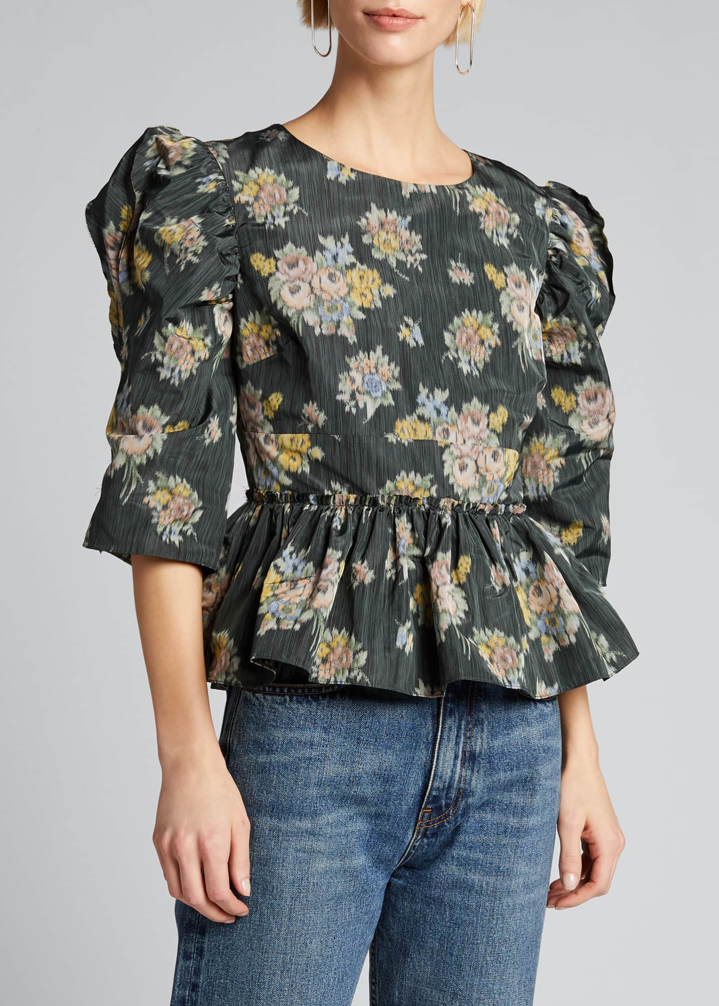 Image 3 of 5: Floral-Print Puff-Sleeve Peplum Blouse