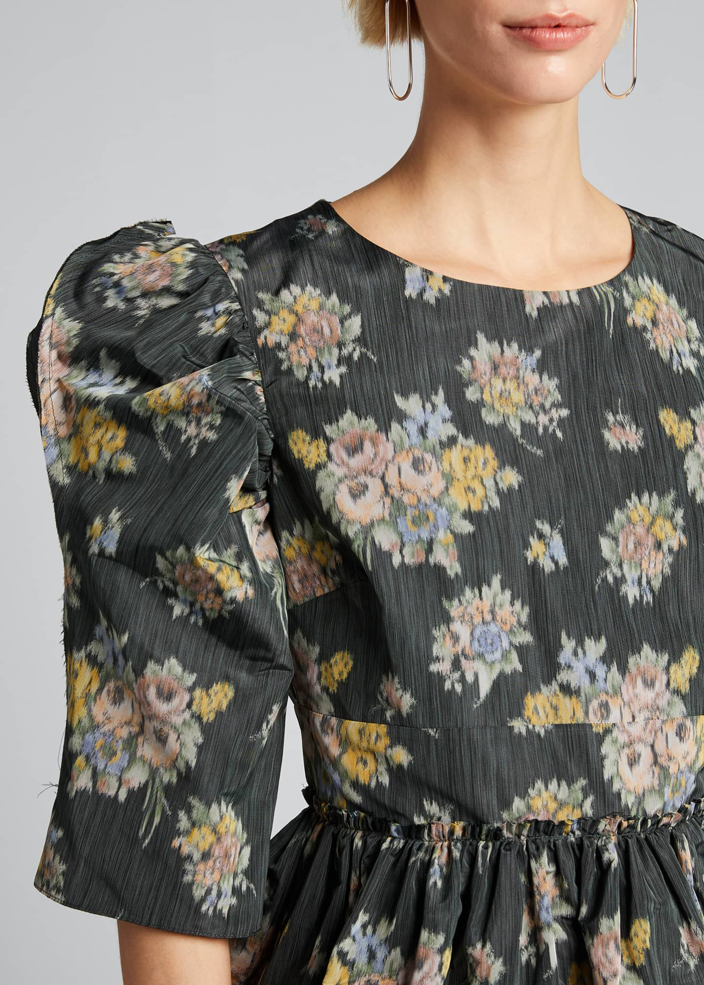 Image 4 of 5: Floral-Print Puff-Sleeve Peplum Blouse