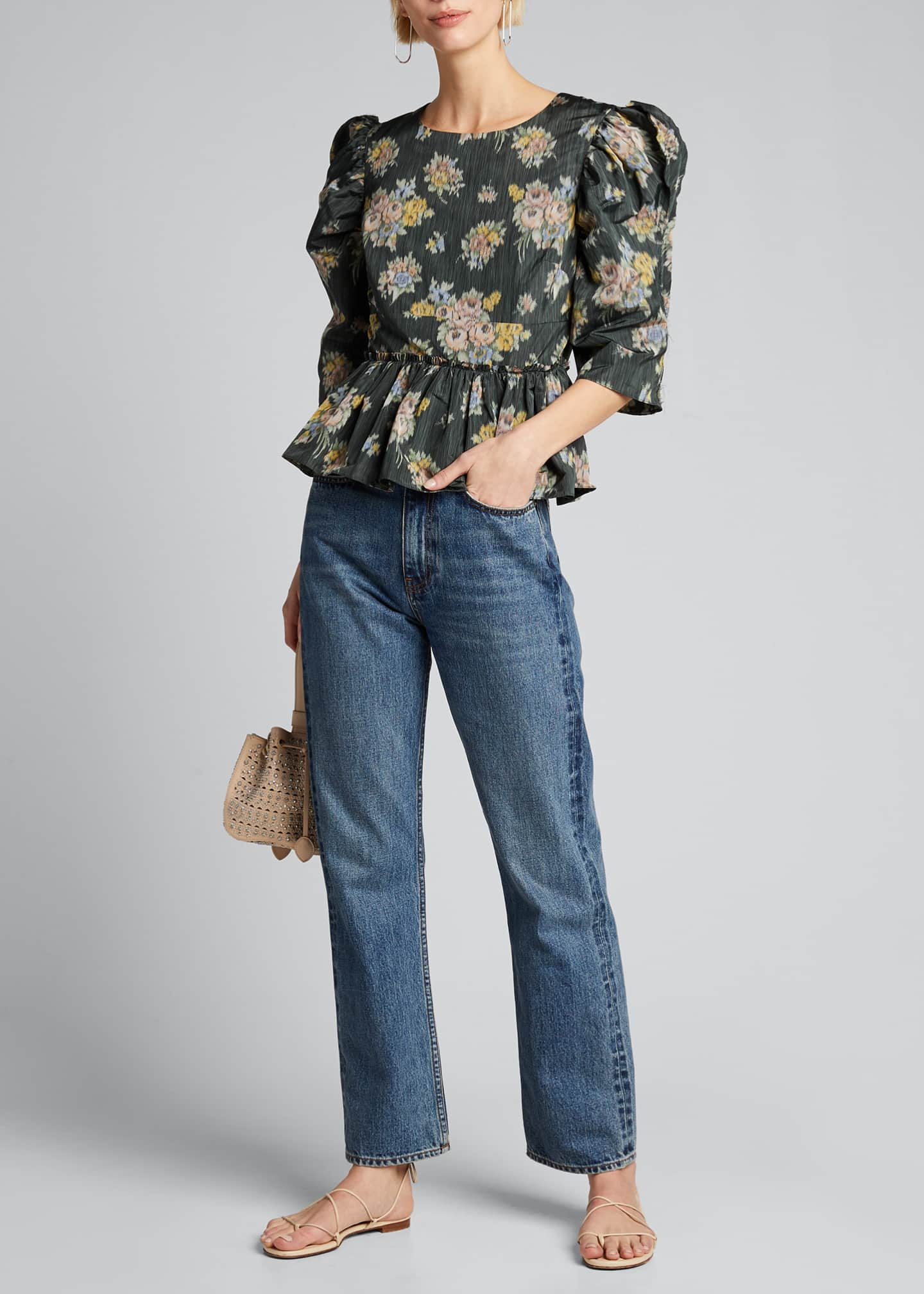 Image 1 of 5: Floral-Print Puff-Sleeve Peplum Blouse