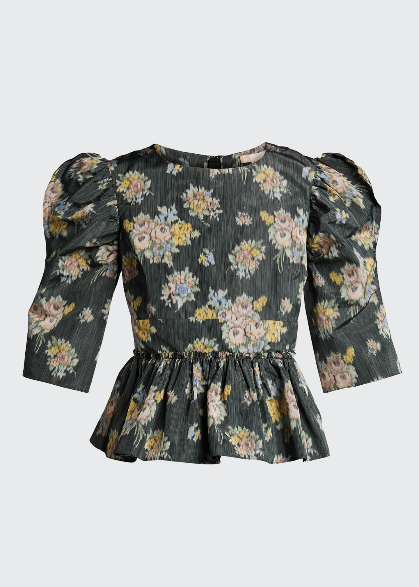 Image 5 of 5: Floral-Print Puff-Sleeve Peplum Blouse