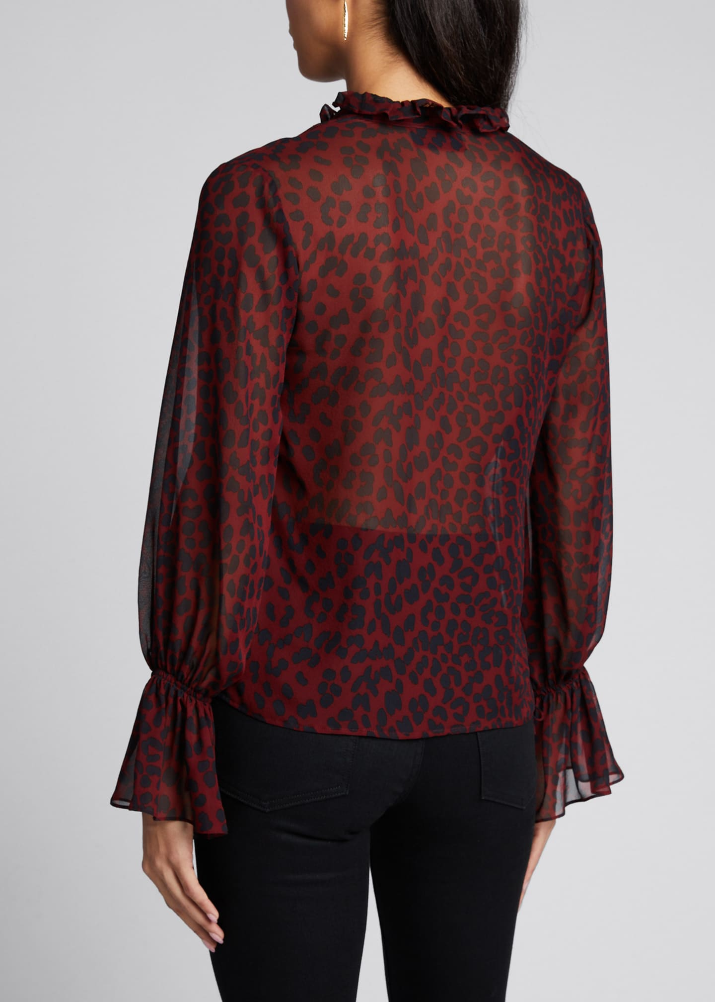Image 2 of 5: Demi Silk Leopard Print Top