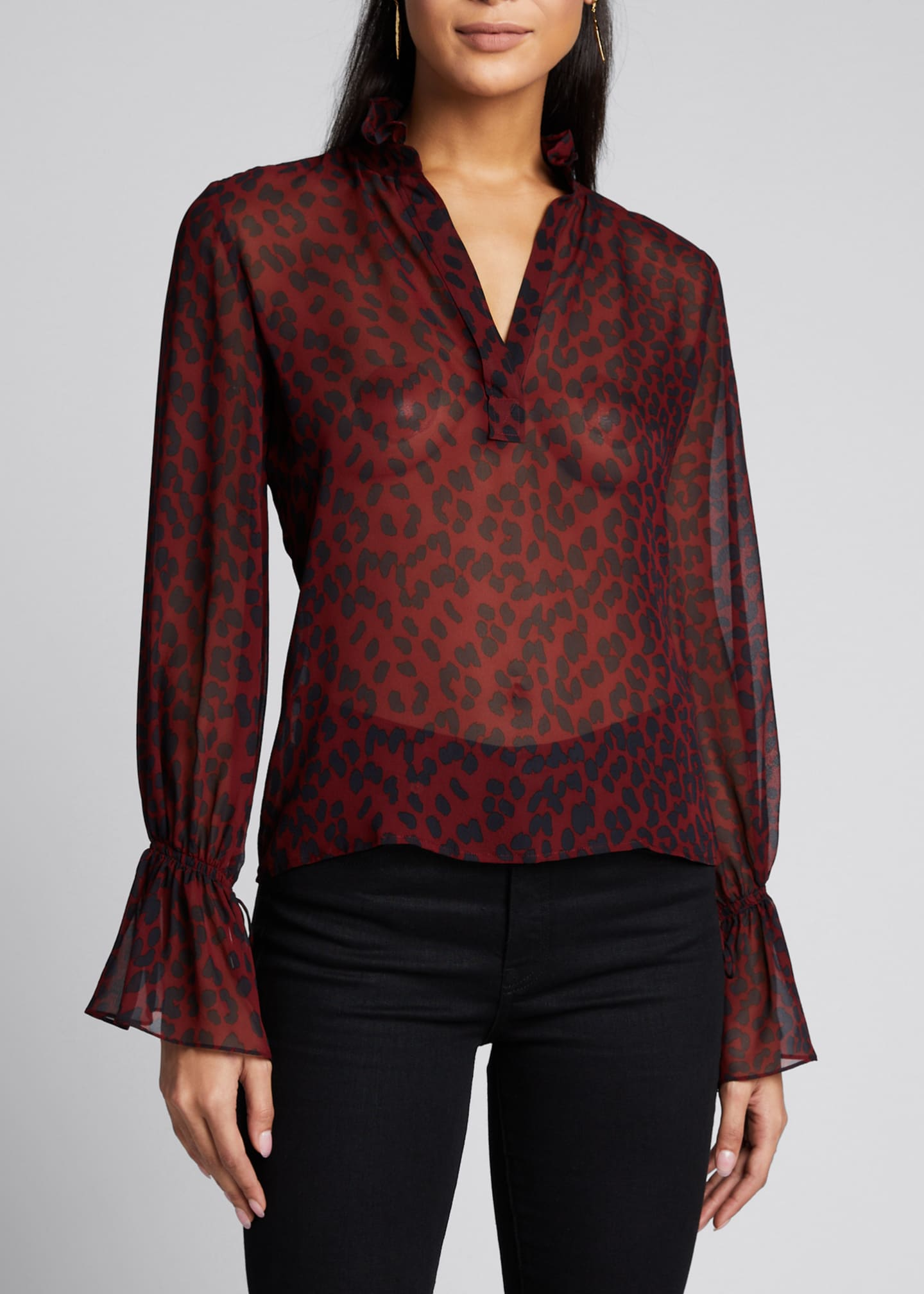 Image 3 of 5: Demi Silk Leopard Print Top