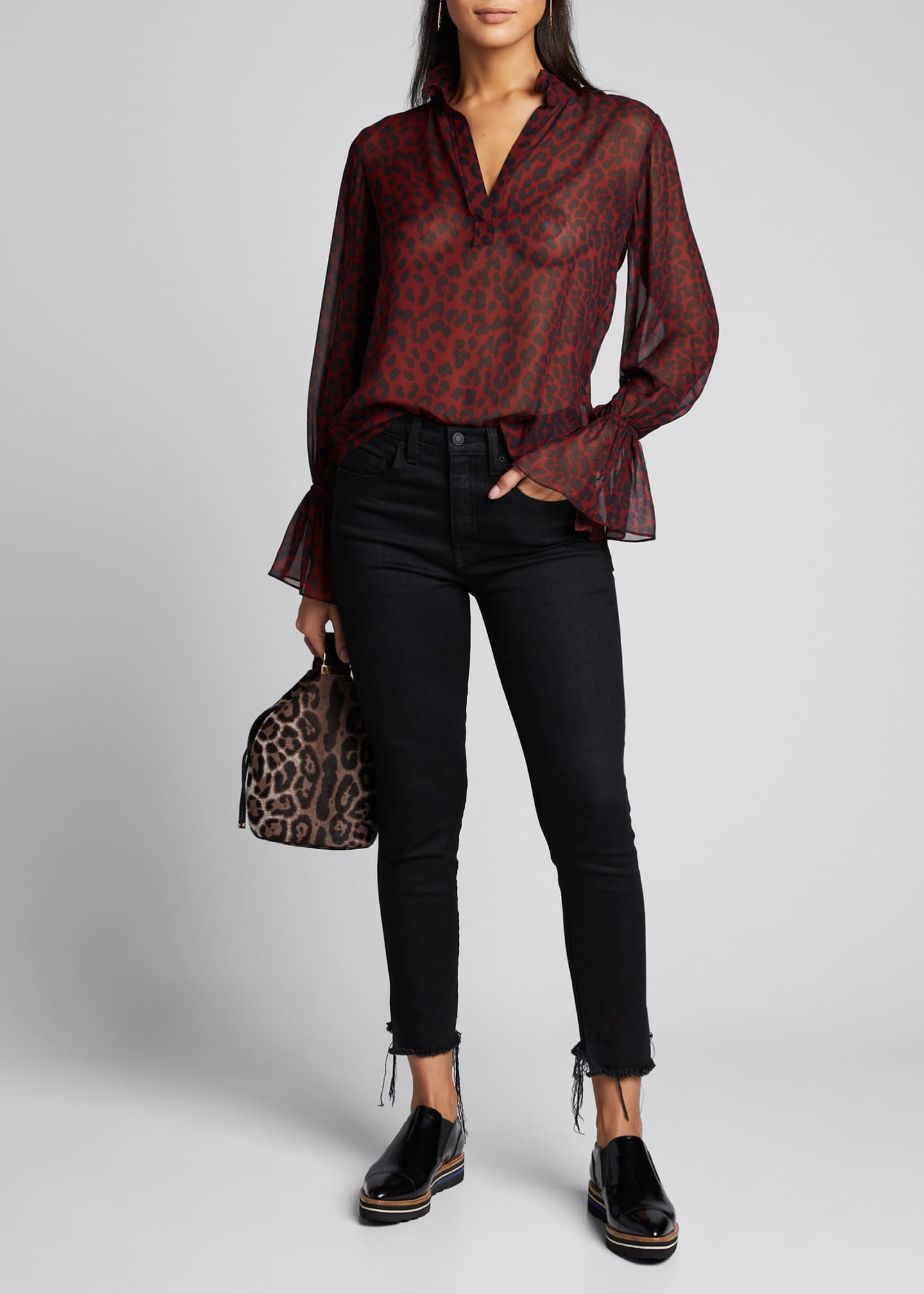 Image 1 of 5: Demi Silk Leopard Print Top