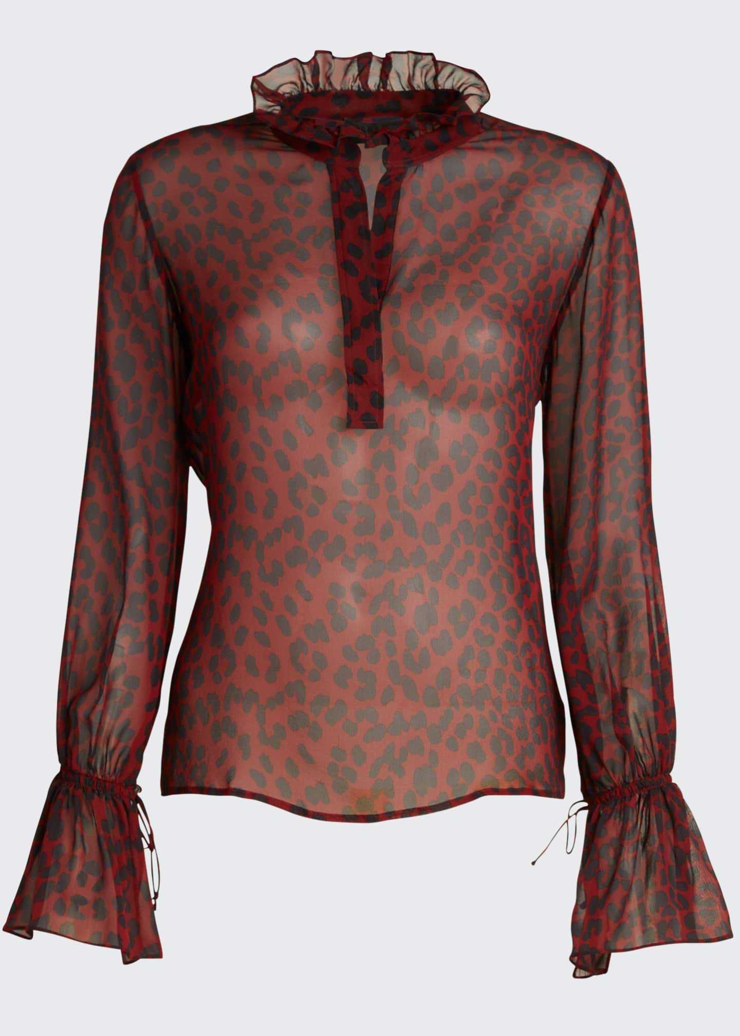 Image 5 of 5: Demi Silk Leopard Print Top