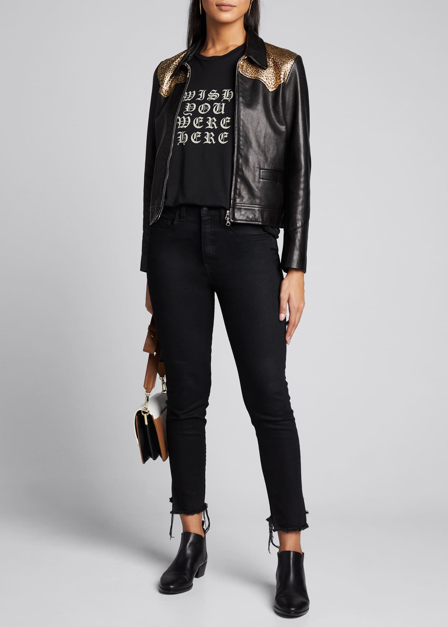 Nili Lotan Jaley Leopard-Print Leather Jacket