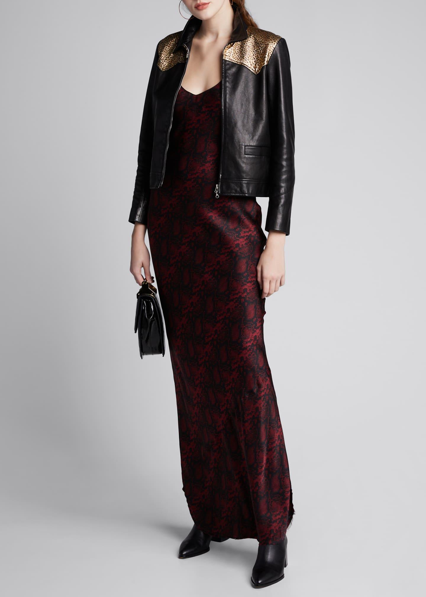 Nili Lotan Snake-Print Silk Slip Gown