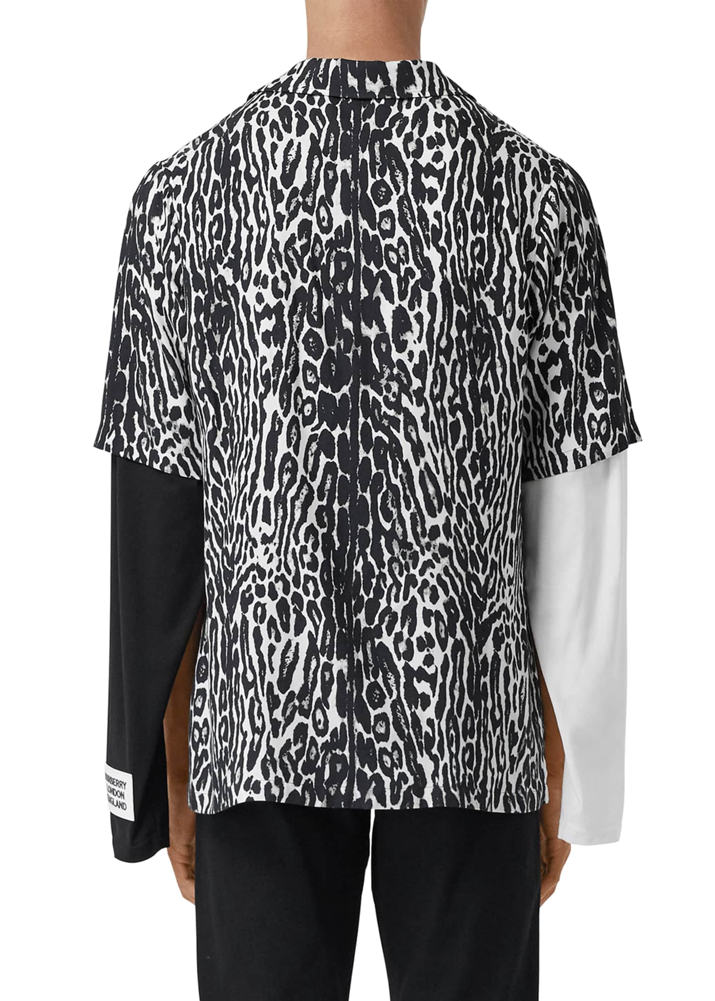 Image 2 of 4: Men's Leopard-Print Camp Shirt