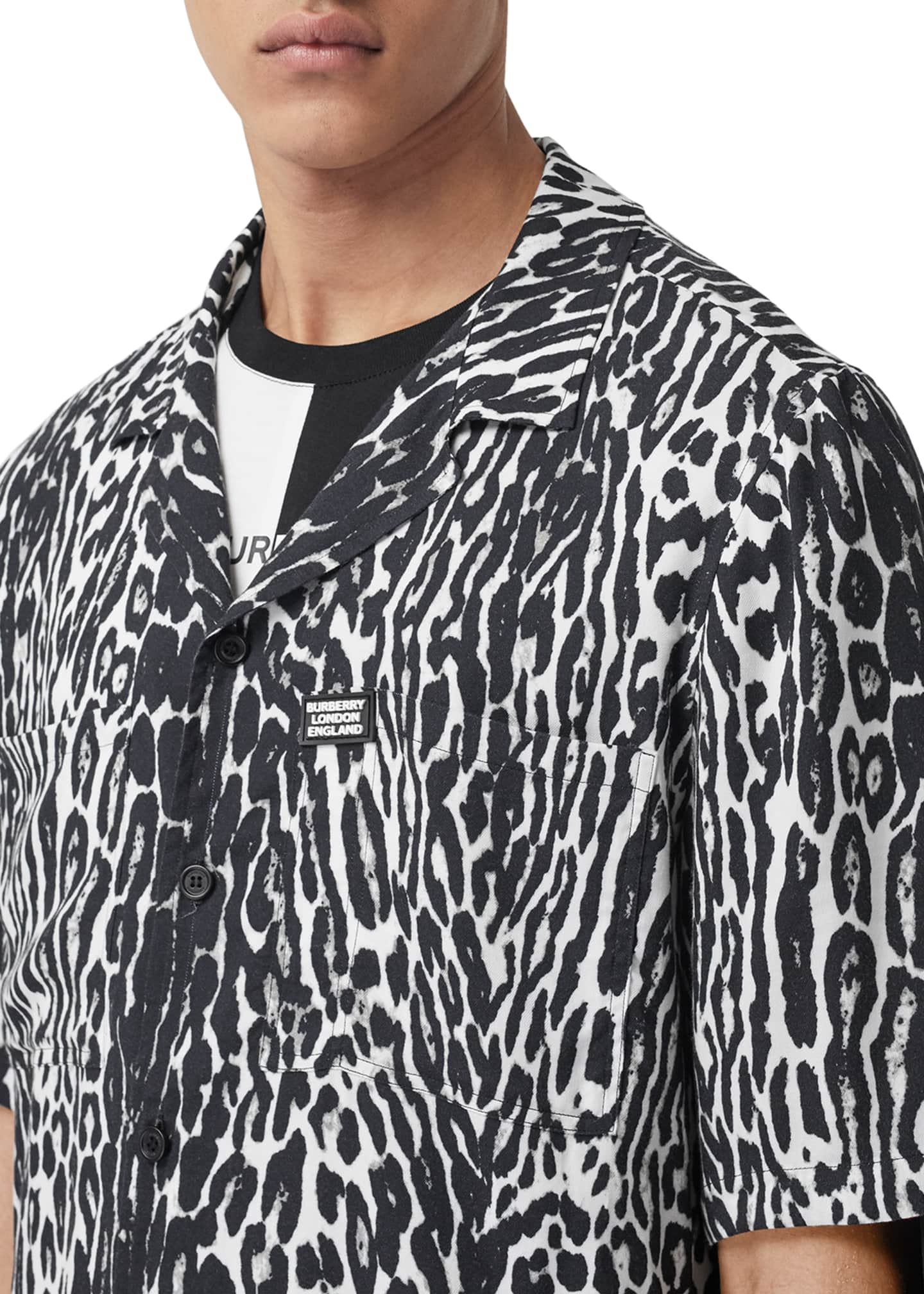 Image 4 of 4: Men's Leopard-Print Camp Shirt