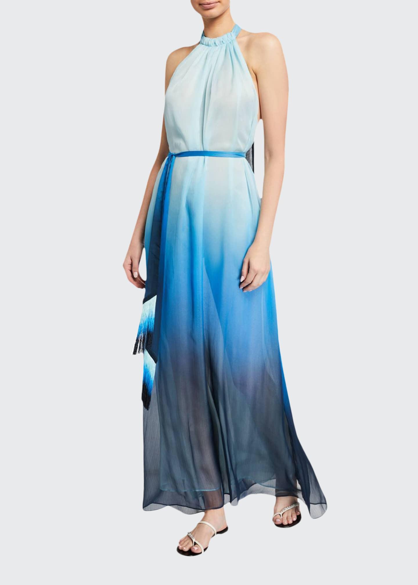 Jonathan Simkhai Ombre Halter Maxi Dress w/ Fringe