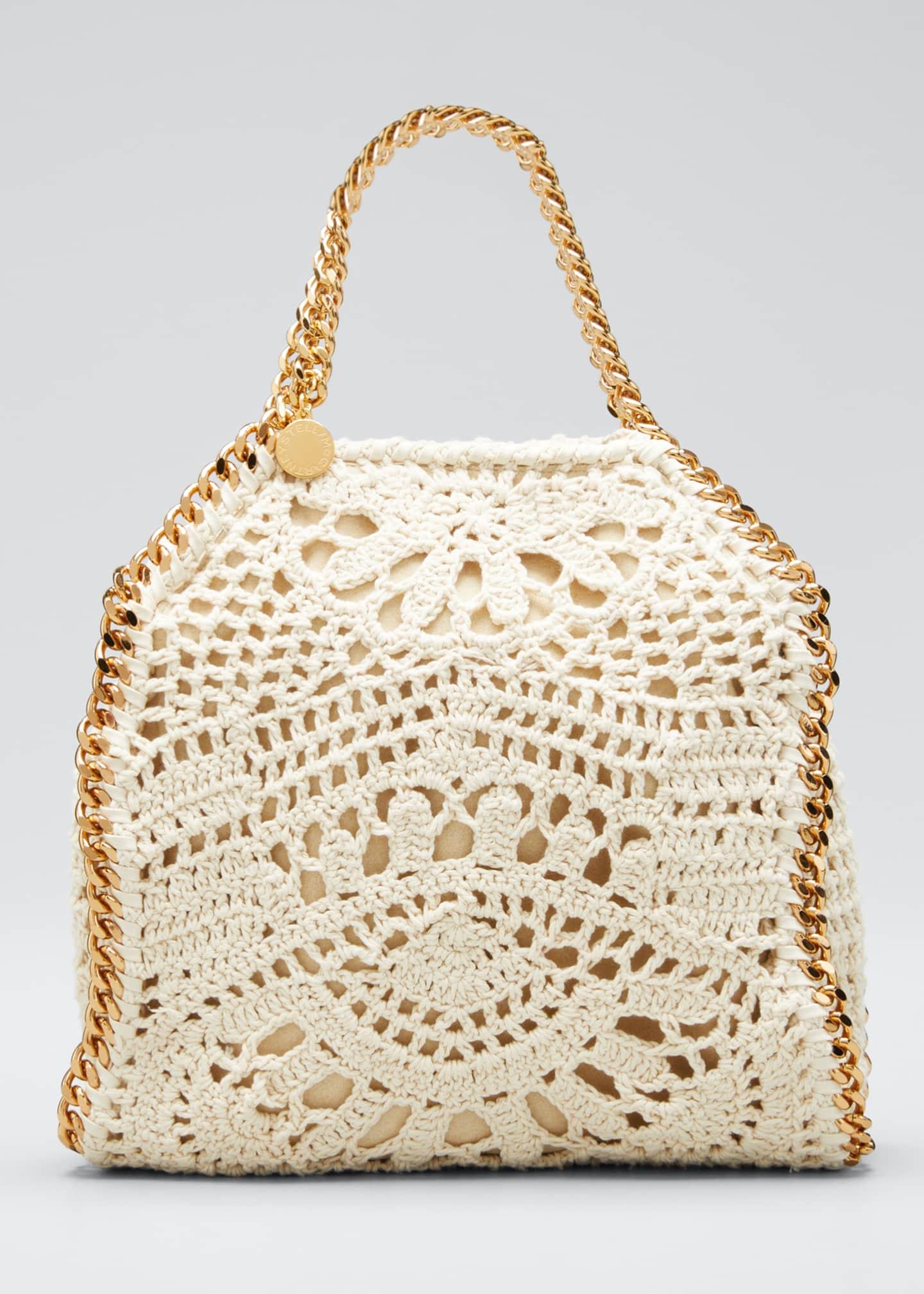 Stella McCartney Falabella Small Crocheted Cotton Ajouree Tote