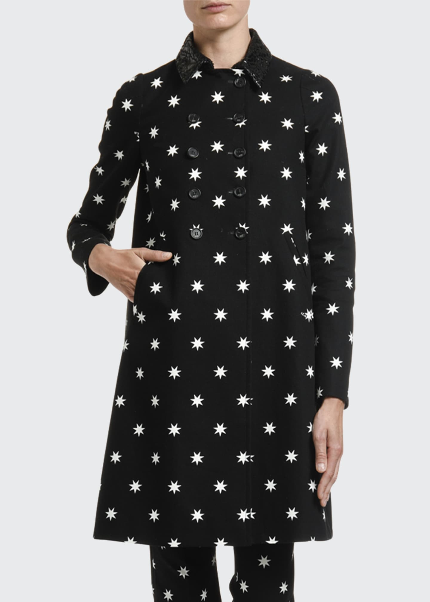 Image 3 of 4: Star-Print A-Line Coat w/ Laser-Cut Collar