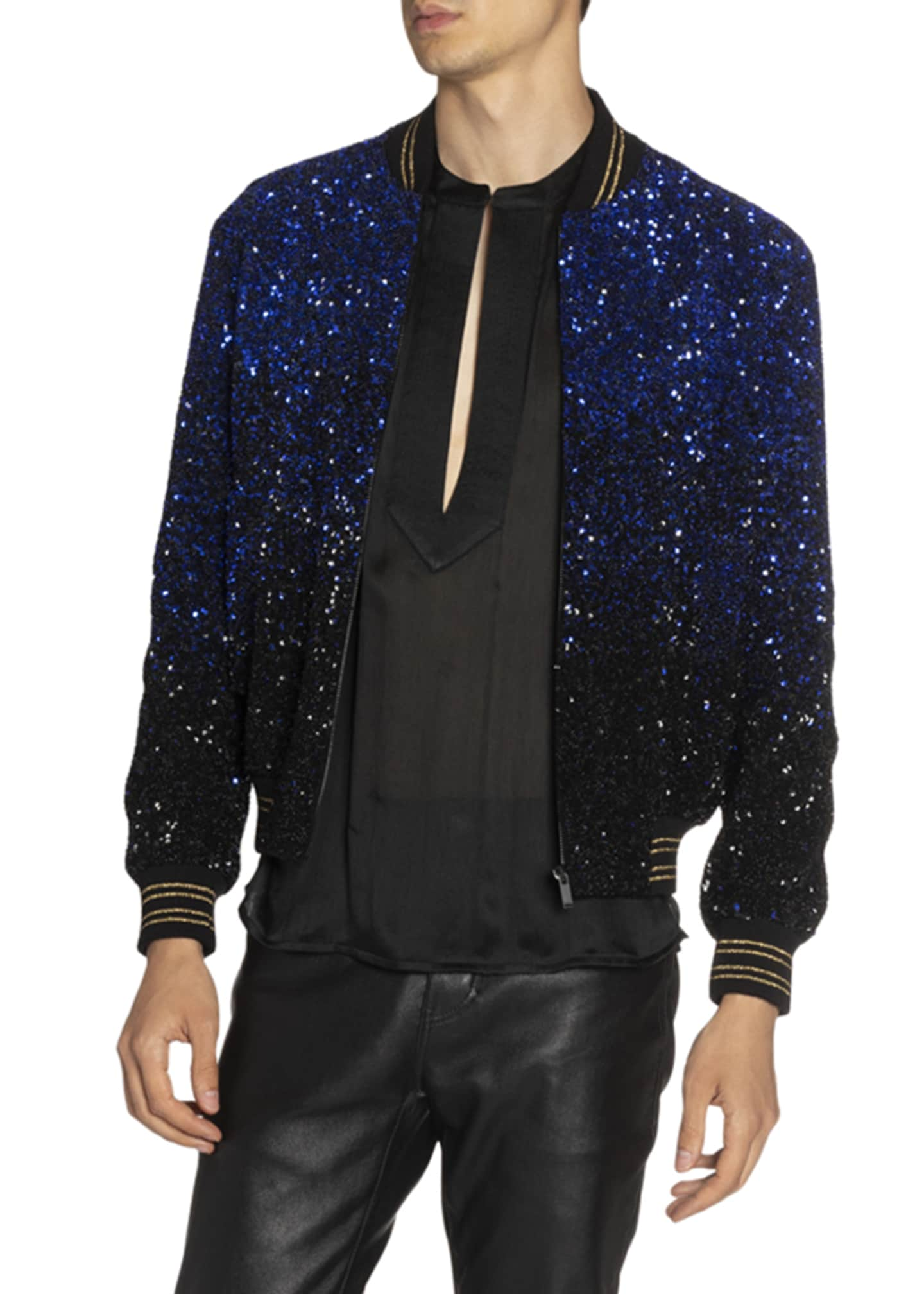 Image 3 of 4: Men's Teddy Gradient Sequined Jacket