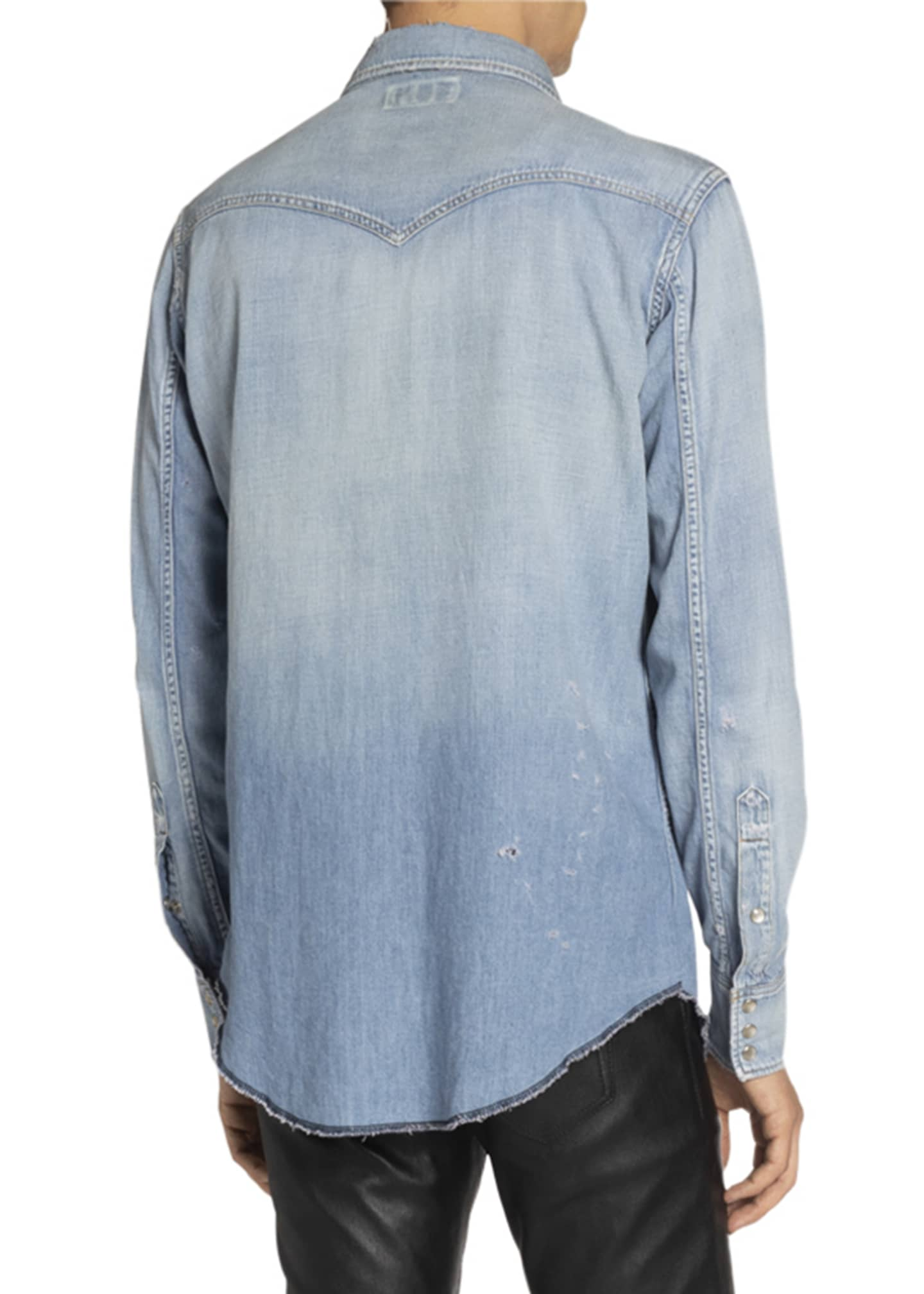 Image 2 of 3: Men's Destroyed Denim Western Shirt