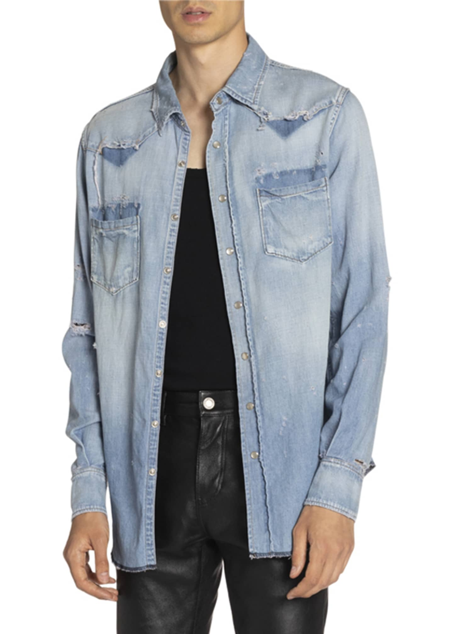 Image 3 of 3: Men's Destroyed Denim Western Shirt