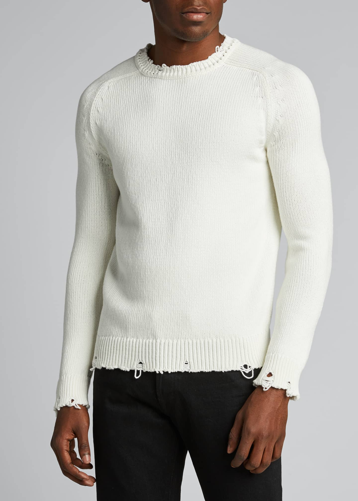 Image 3 of 5: Men's Destroyed Cotton Sweater