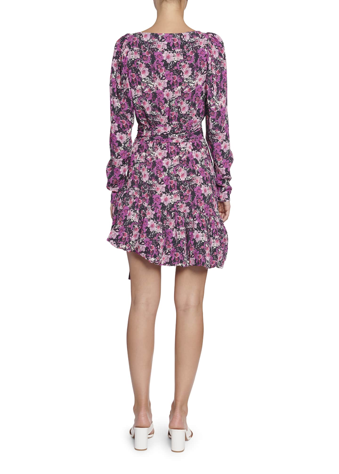 Image 2 of 2: Nancy Floral Long-Sleeve Flounce Dress