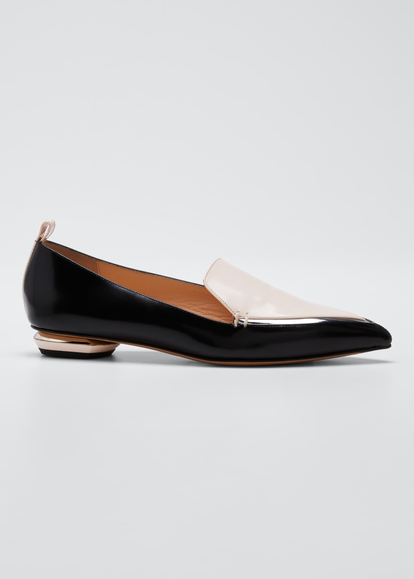 Nicholas Kirkwood Beya Two-Tone Leather Loafers, Black/Pink