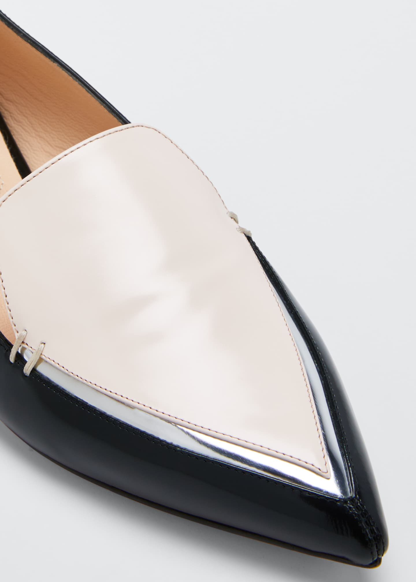 Image 2 of 2: Beya Two-Tone Leather Loafers, Black/Pink