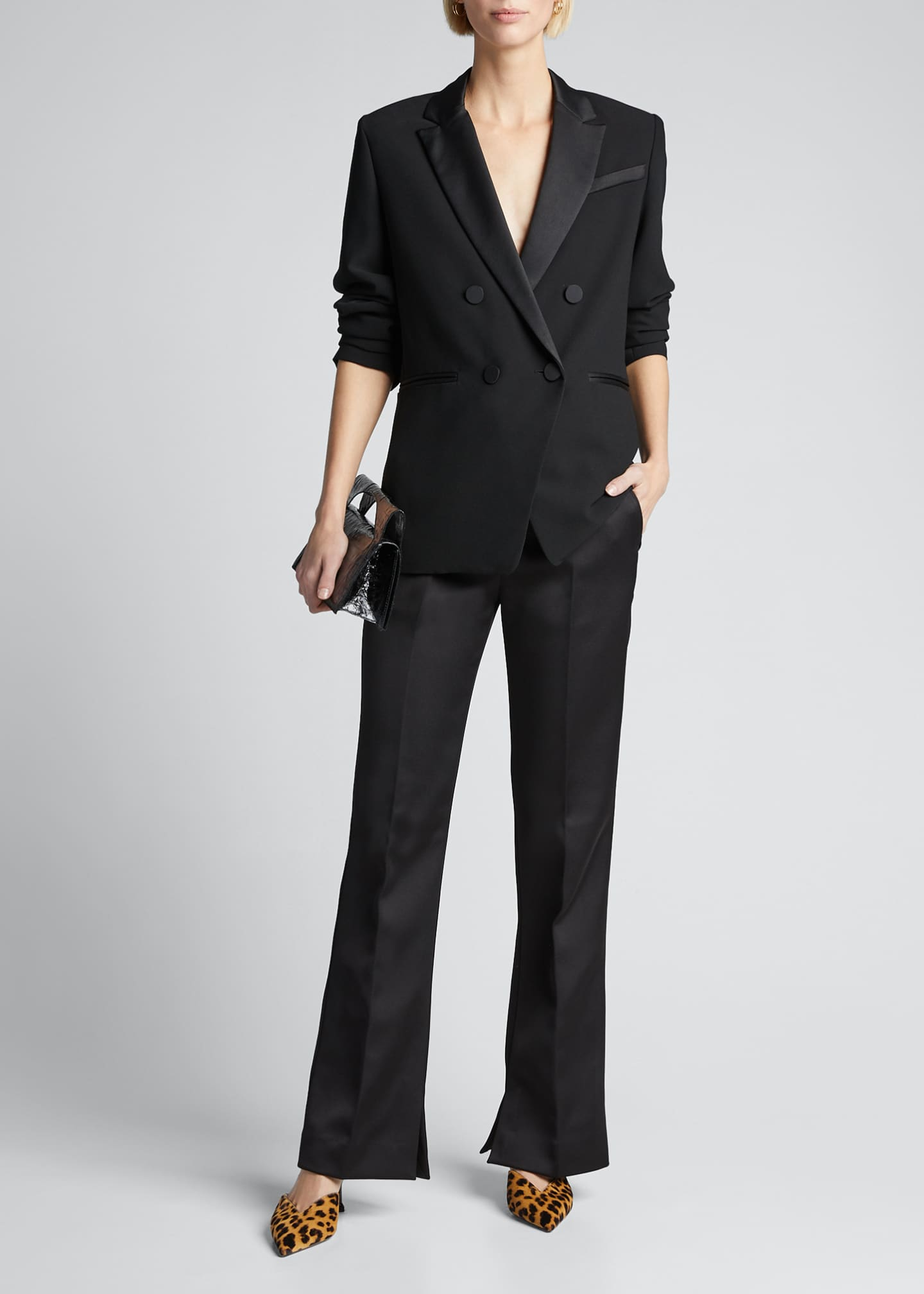 FRAME Double Breasted Tux Satin Blazer