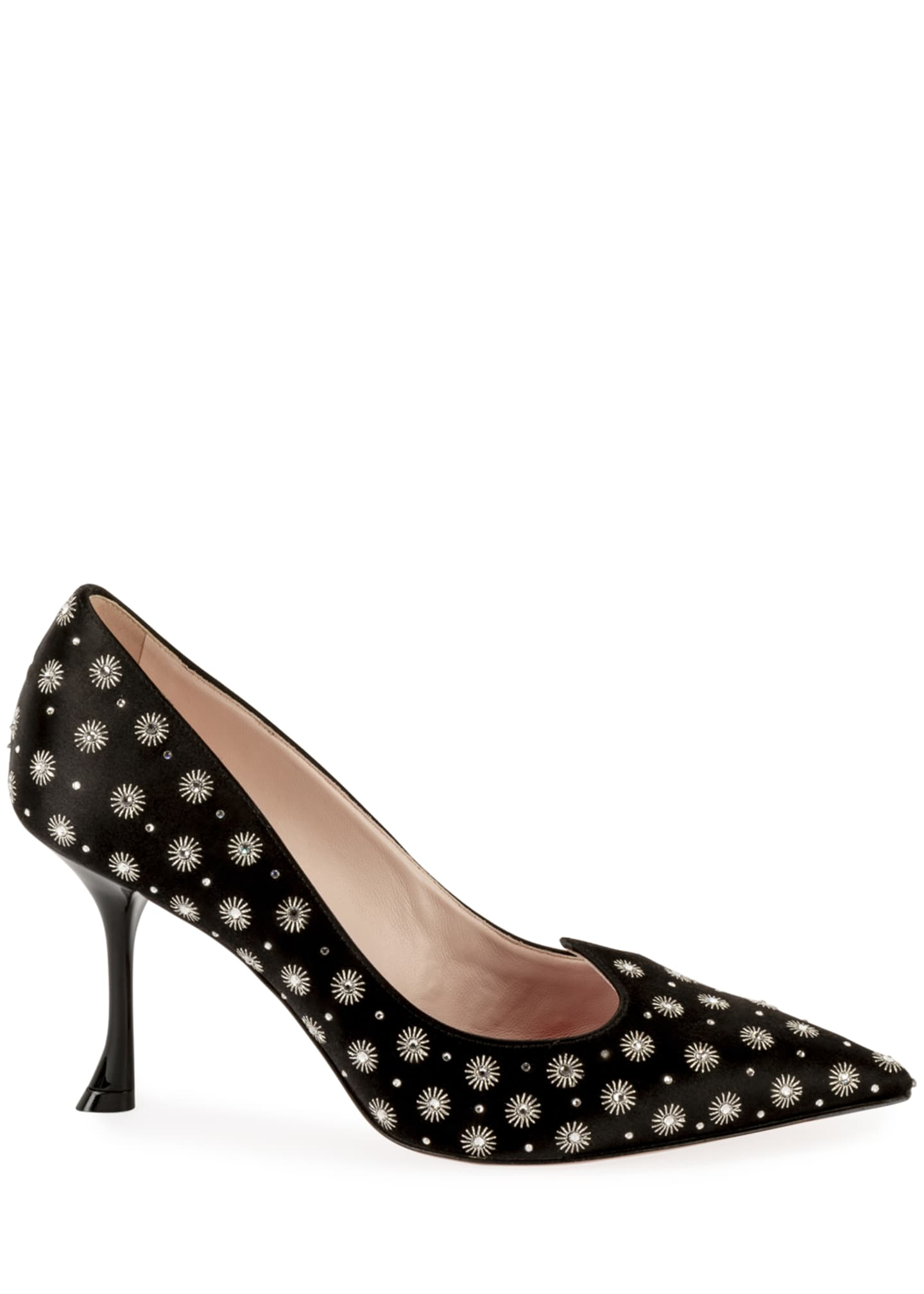 Image 2 of 4: I Love Vivier Heart-Shape Twinkle Satin Pumps