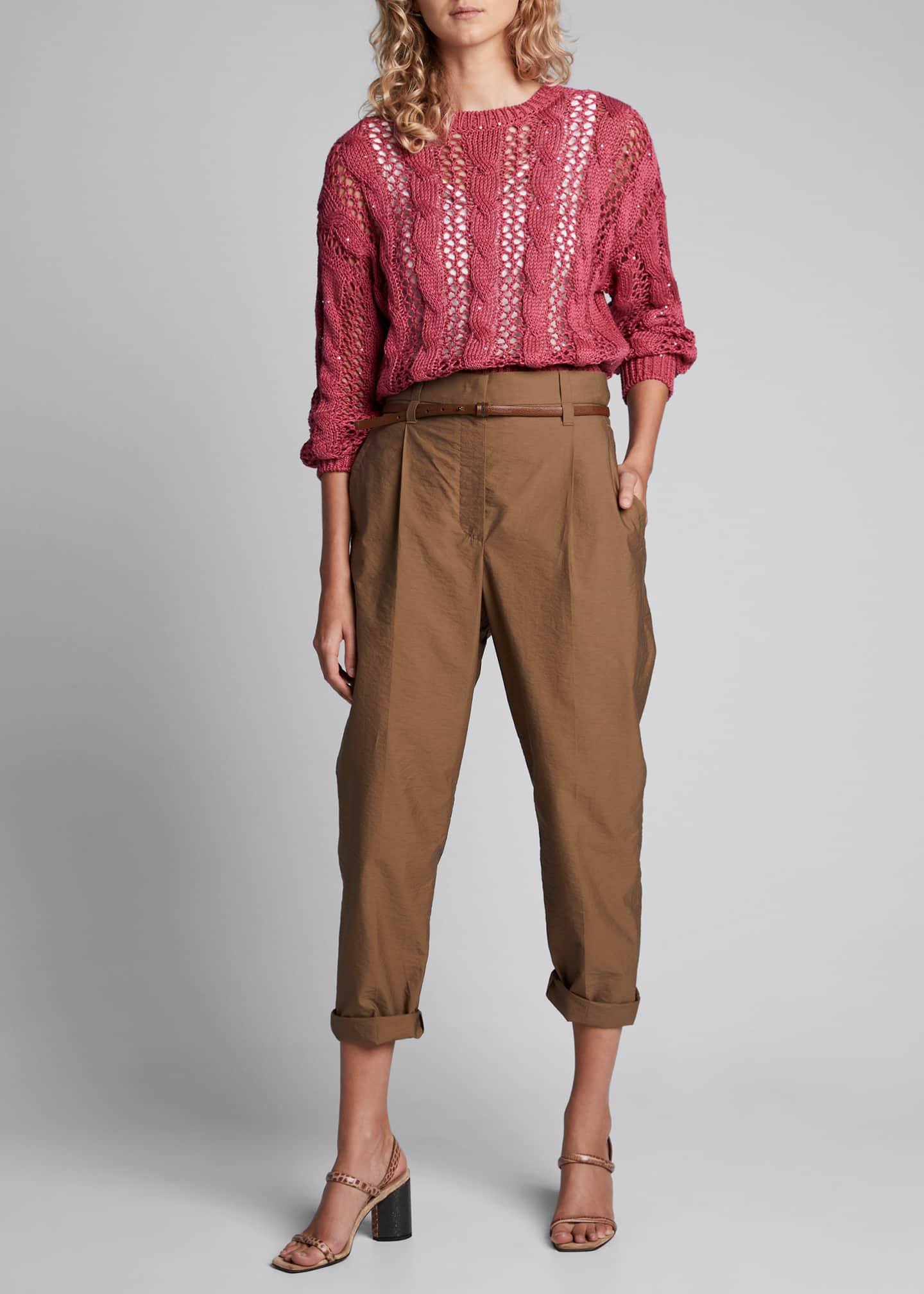 Brunello Cucinelli Open-Weave Cable-Knit Sweater