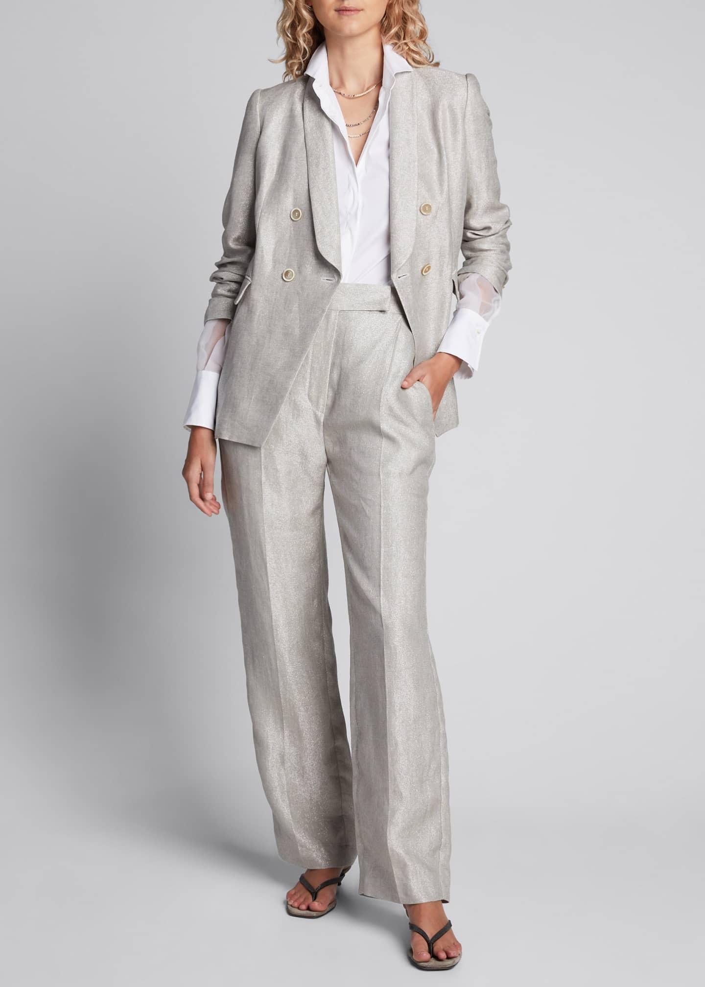 Brunello Cucinelli Monili-Beaded Organza Sleeve Poplin Shirt,
