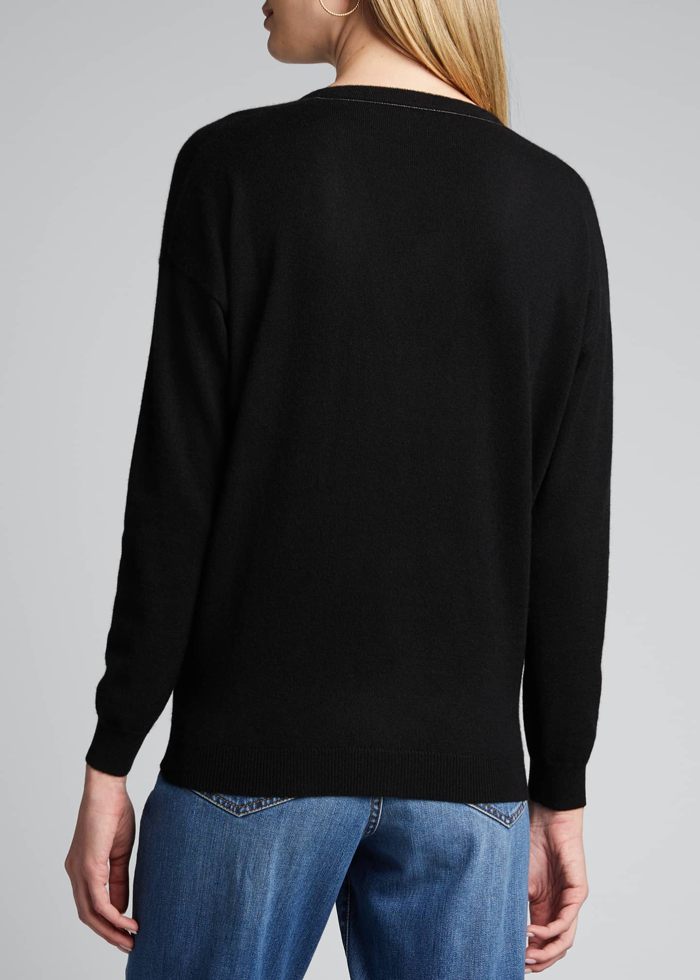 Image 2 of 5: 2 Ply Cashmere V-Neck Sweater w/ Monili Detail