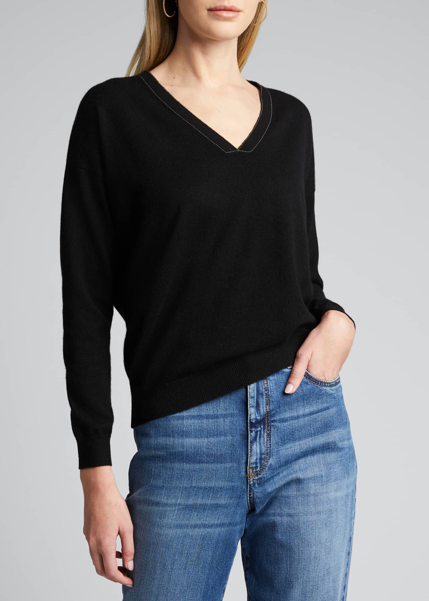Image 3 of 5: 2 Ply Cashmere V-Neck Sweater w/ Monili Detail