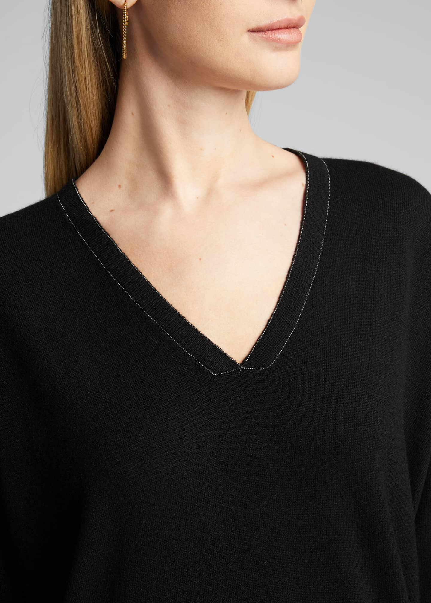 Image 4 of 5: 2 Ply Cashmere V-Neck Sweater w/ Monili Detail