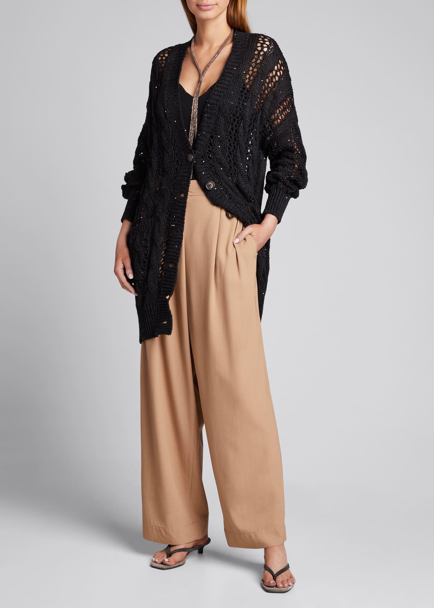 Brunello Cucinelli Sequin Netted Linen-Silk Long Cardigan