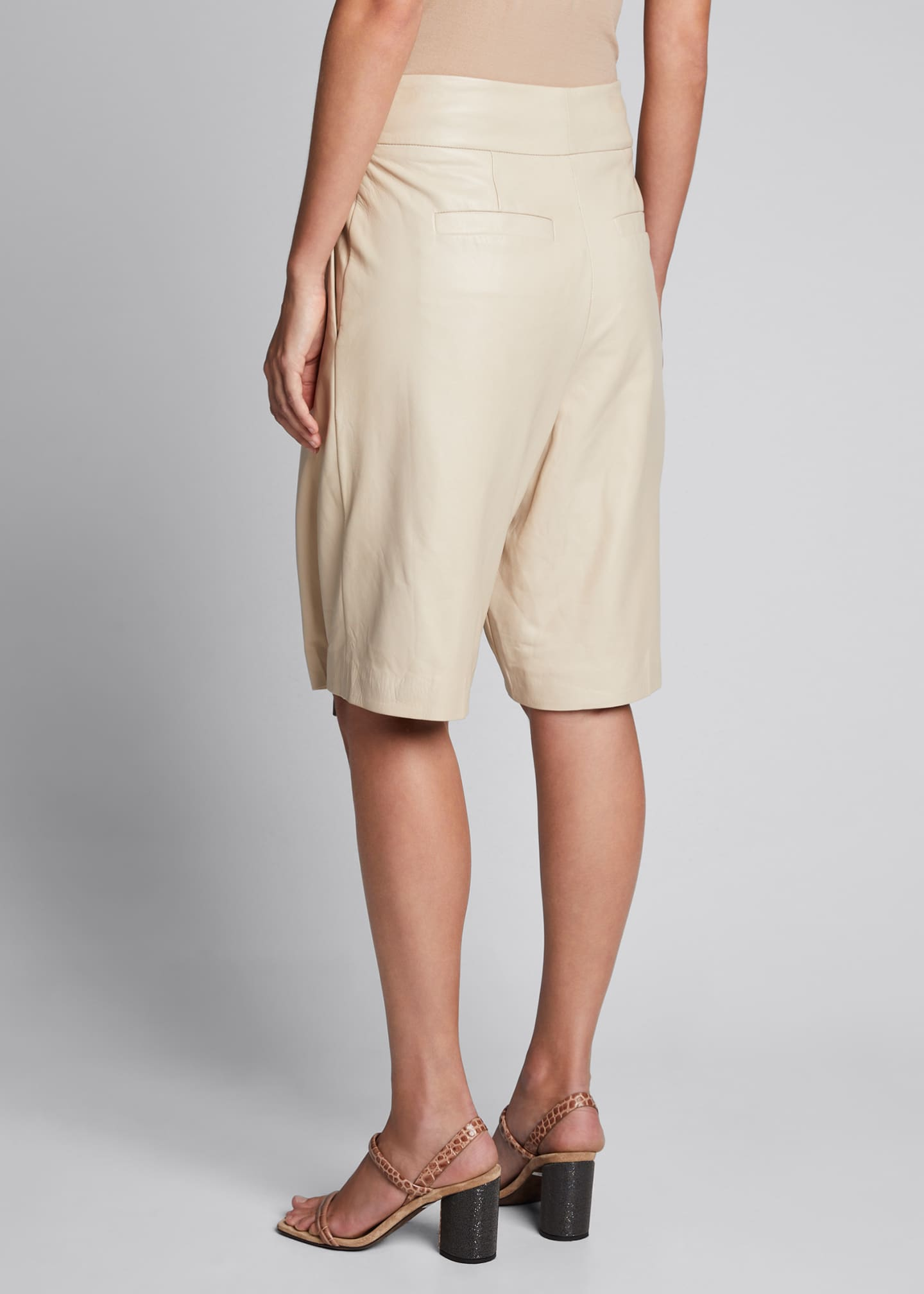 Image 2 of 5: Pleated Napa Knee Shorts